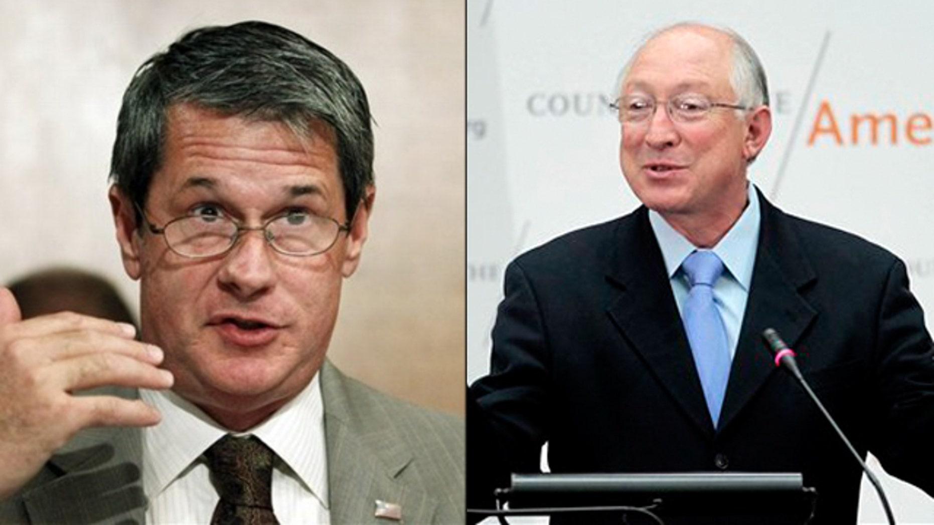 Shown here are Sen. David Vitter, left, and Interior Secretary Ken Salazar.