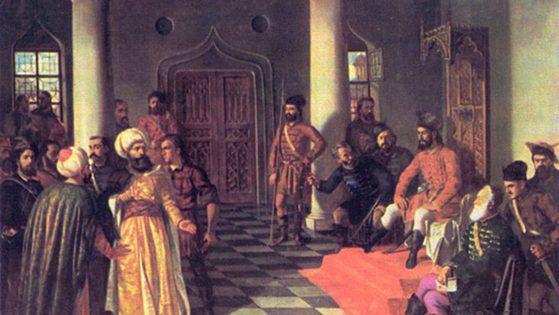 """This painting, """"Vlad the Impaler and the Turkish Envoys,"""" by Theodor Aman (1831-1891), allegedly depicts a scene in which Vlad III nails the turbans of these Ottoman diplomats to their heads."""