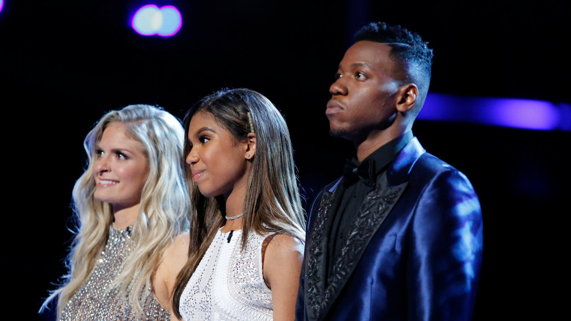 "Pictured: (l-r) Lauren Duski, Aaliyah Moulden and Chris Blue await the results of ""The Voice"" finale, May 23, 2017."