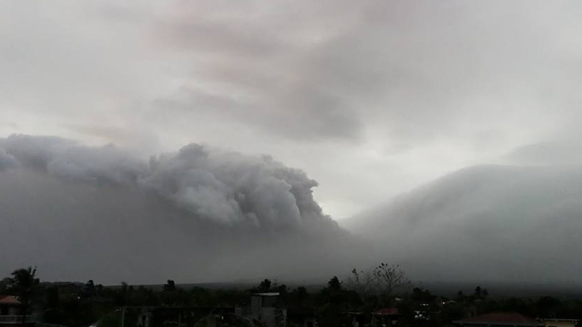Mount Mayon erupts in Legazpi City, Philippines, January 13, 2018 in this still obtained from social media.