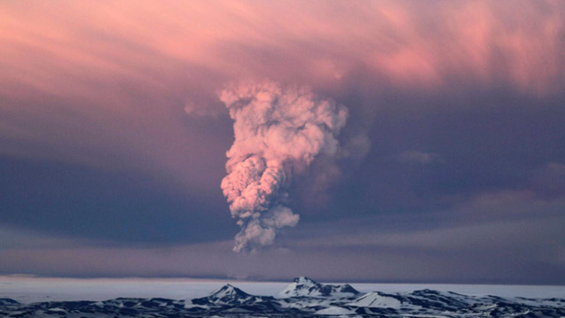 May 21: Smoke plumes from the Grimsvotn volcano, which lies under the Vatnajokull glacier, about 120 miles east of the capital, Rejkjavik, which began erupting Saturday for the first time since 2004.