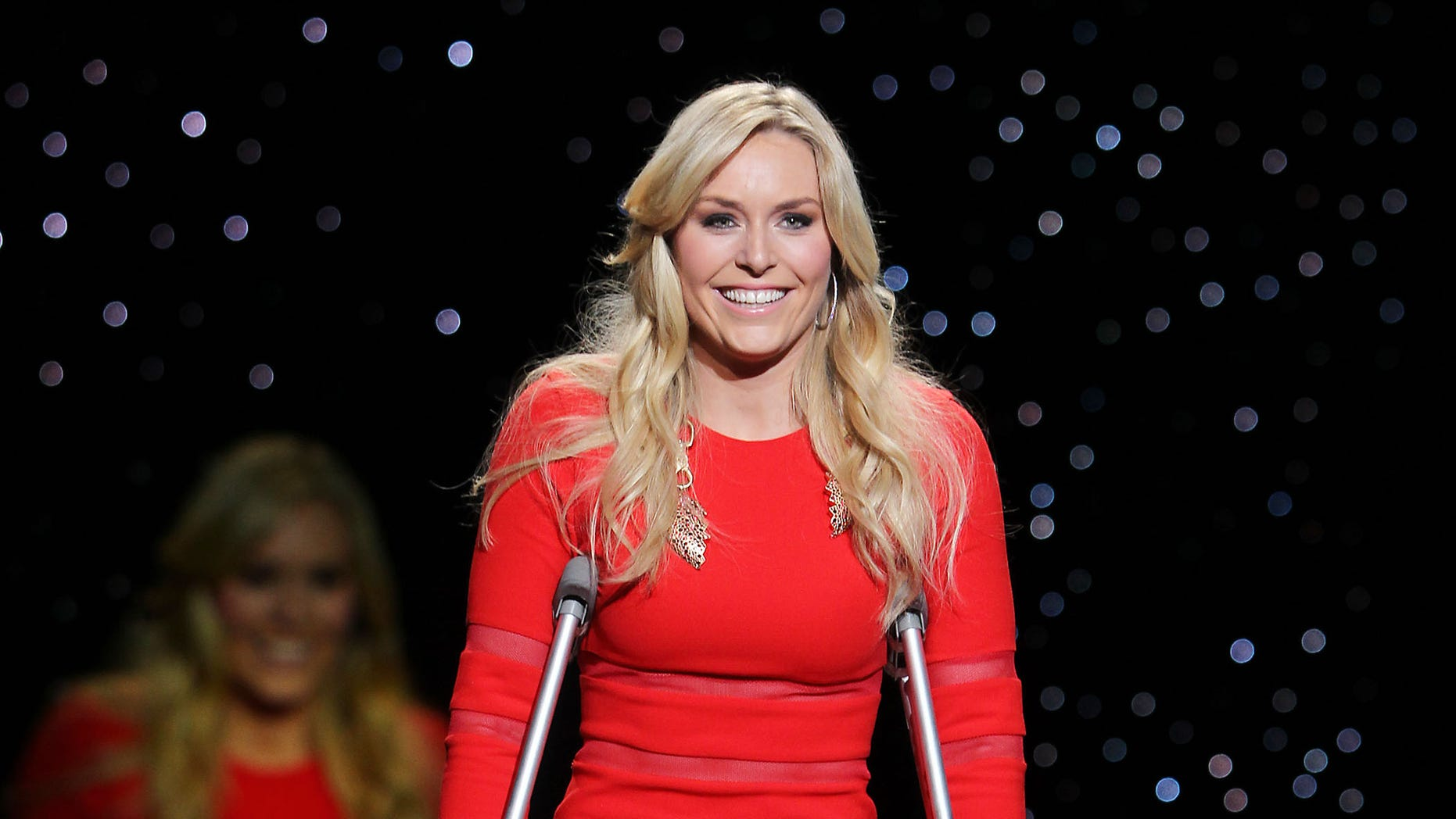 Feb. 6, 2014. Lindsey Vonn wearing Cynthia Rowley as she participates in the Go Red For Women-The Heart Truth Red Dress Collection show during Fashion Week in New York.
