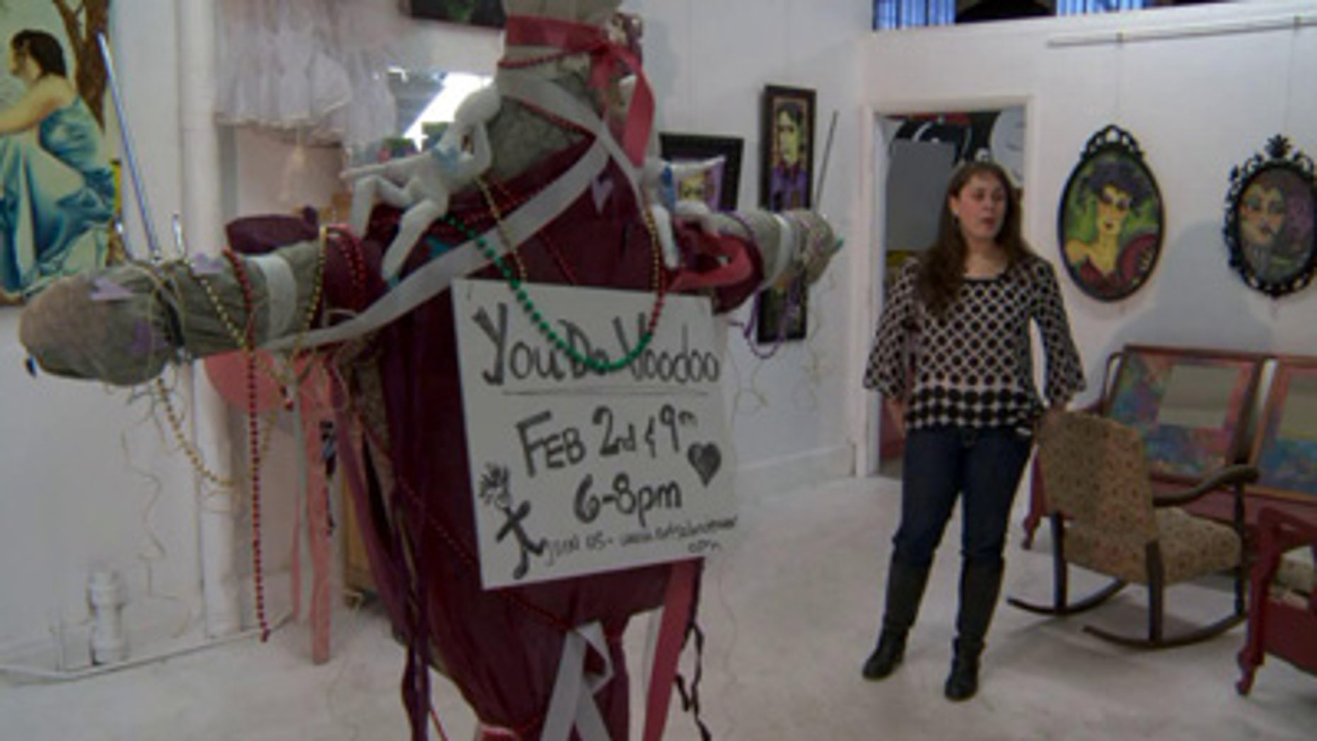 Dozens of men and women literally stick it to love while attending a voodoo-doll-making class offered by The Art Salon in Denver, Col.