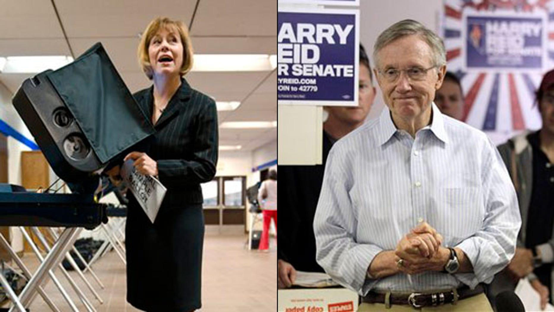 Shown here are Nevada Republican Senate nominee Sharron Angle, left, and Senate Majority Leader Harry Reid. (AP Photos)