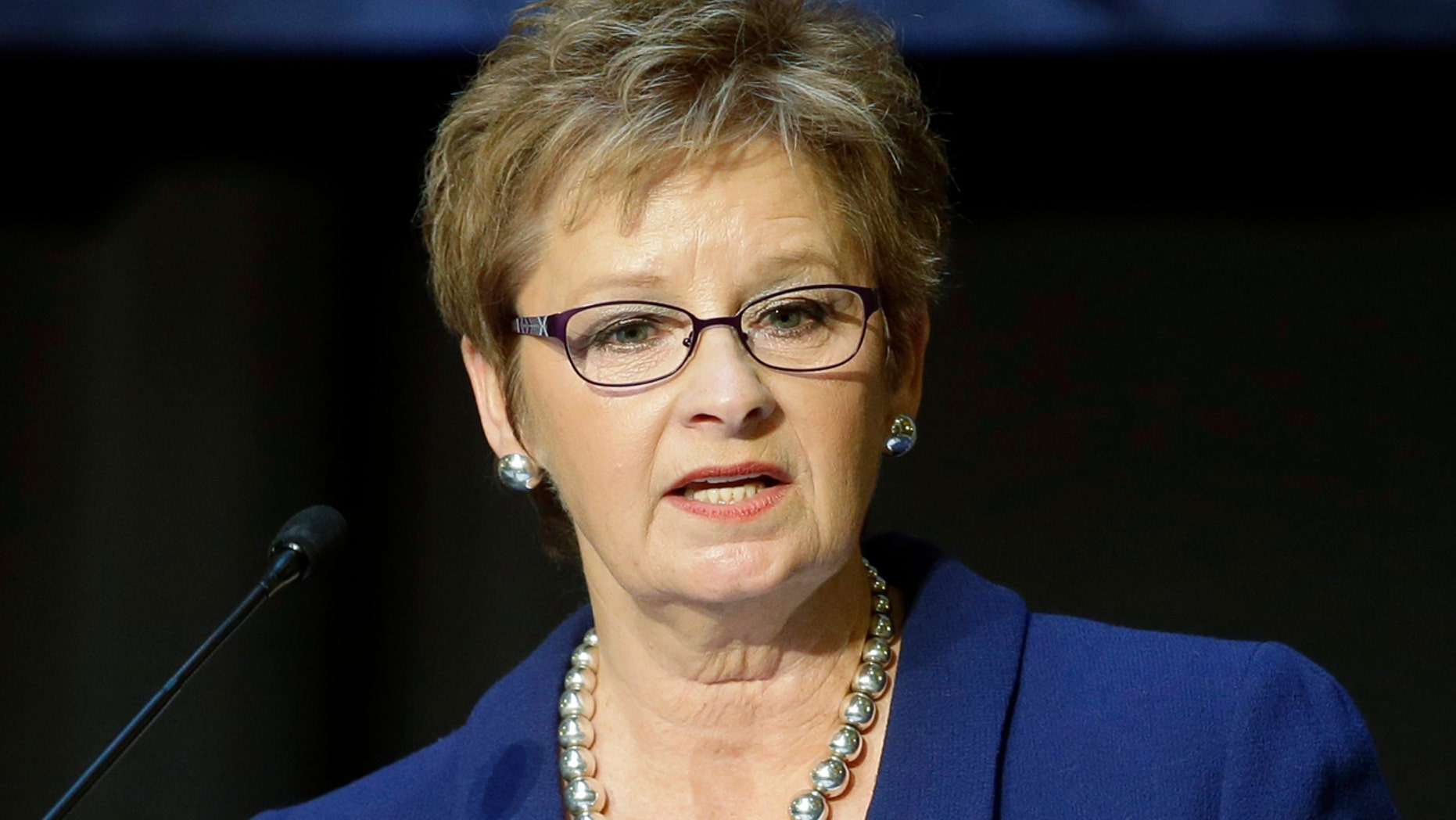 In this Jan. 7, 2015 file photo, Indiana Secretary of State Connie Lawson speak in Indianapolis.