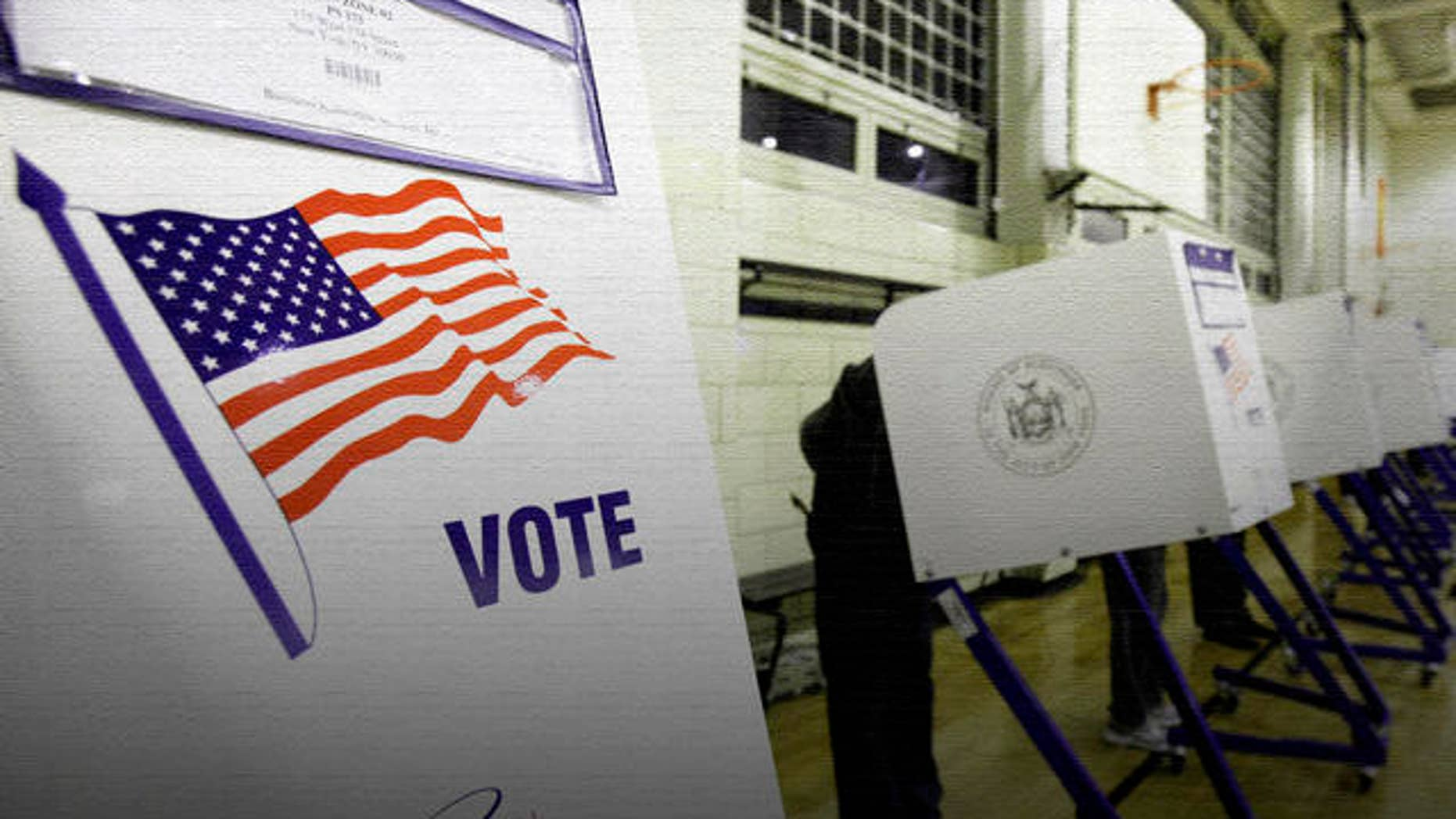 Voting machines on election day, 11/2/10