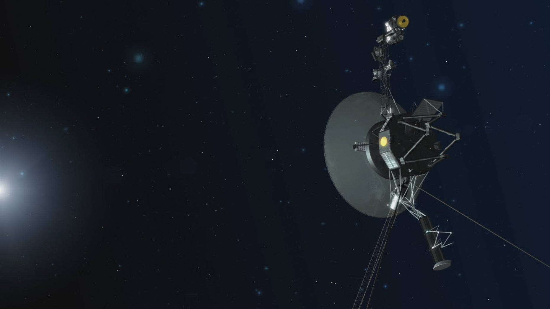 An artist's concept of one of the NASA's twin Voyager spacecraft in space. Voyager 1 and Voyager 2 are humanity's farthest and longest-lived spacecraft, launching 40 years ago in August and September of 1977.