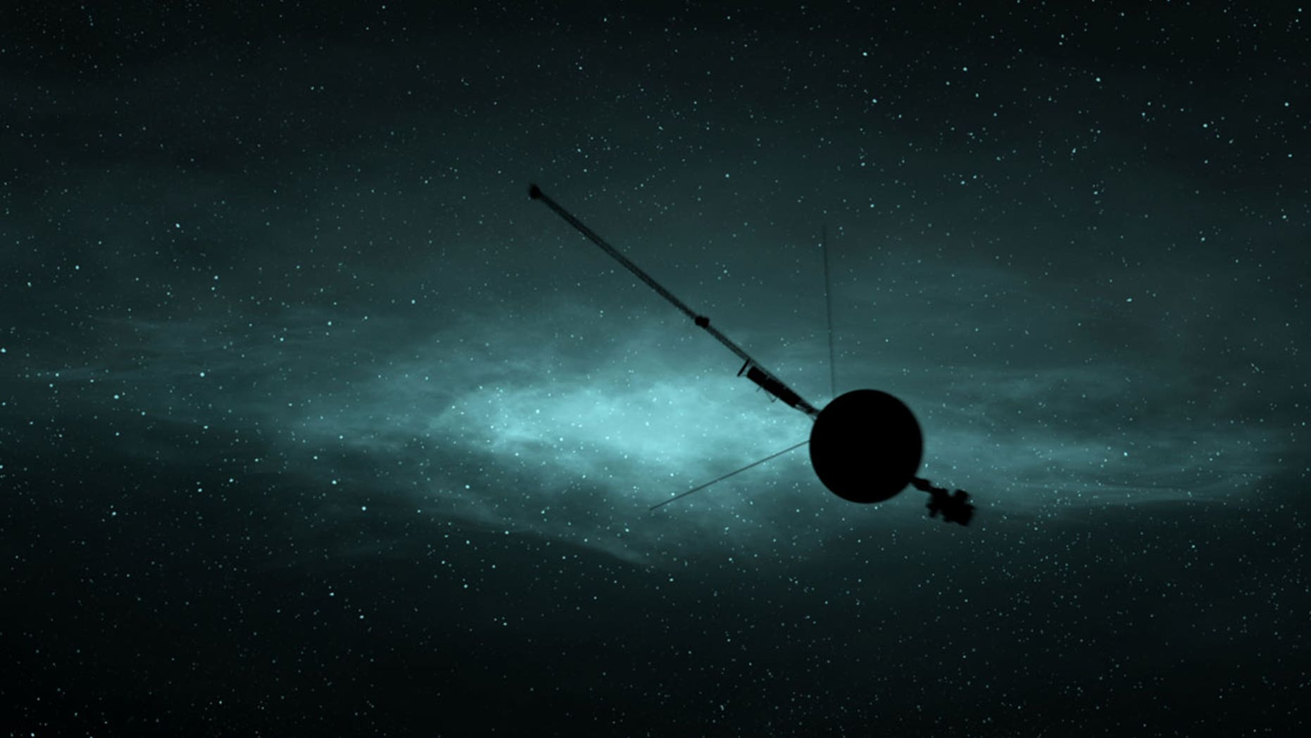 """NASA's Voyager 1 soars through interstellar space 40 years after it was launched, as depicted in the new film, """"The Farthest."""""""