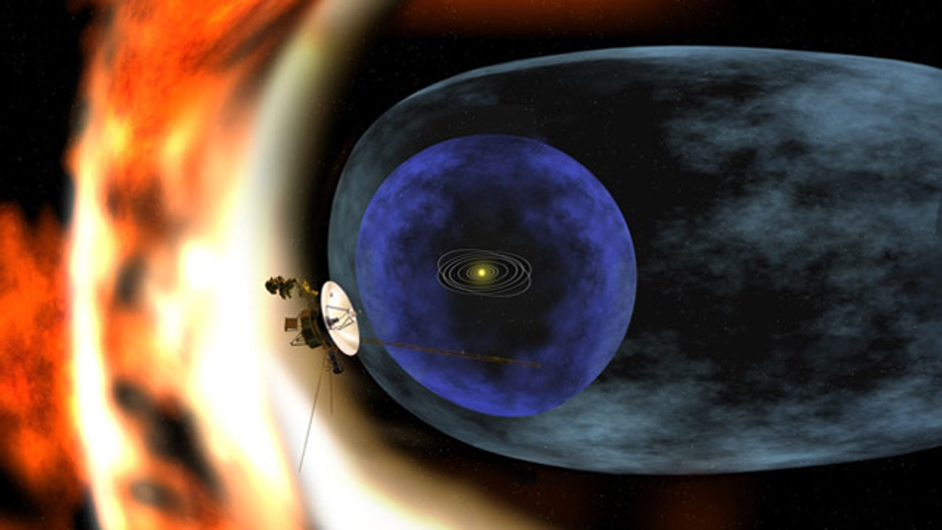 Artist's rendering of the Voyager 2 spacecraft as it studies the outer limits of the heliosphere — a magnetic 'bubble' around the Solar System that is created by the solar wind. Scientists observed the magnetic bubble is not spherical, but pressed inward in the southern hemisphere.