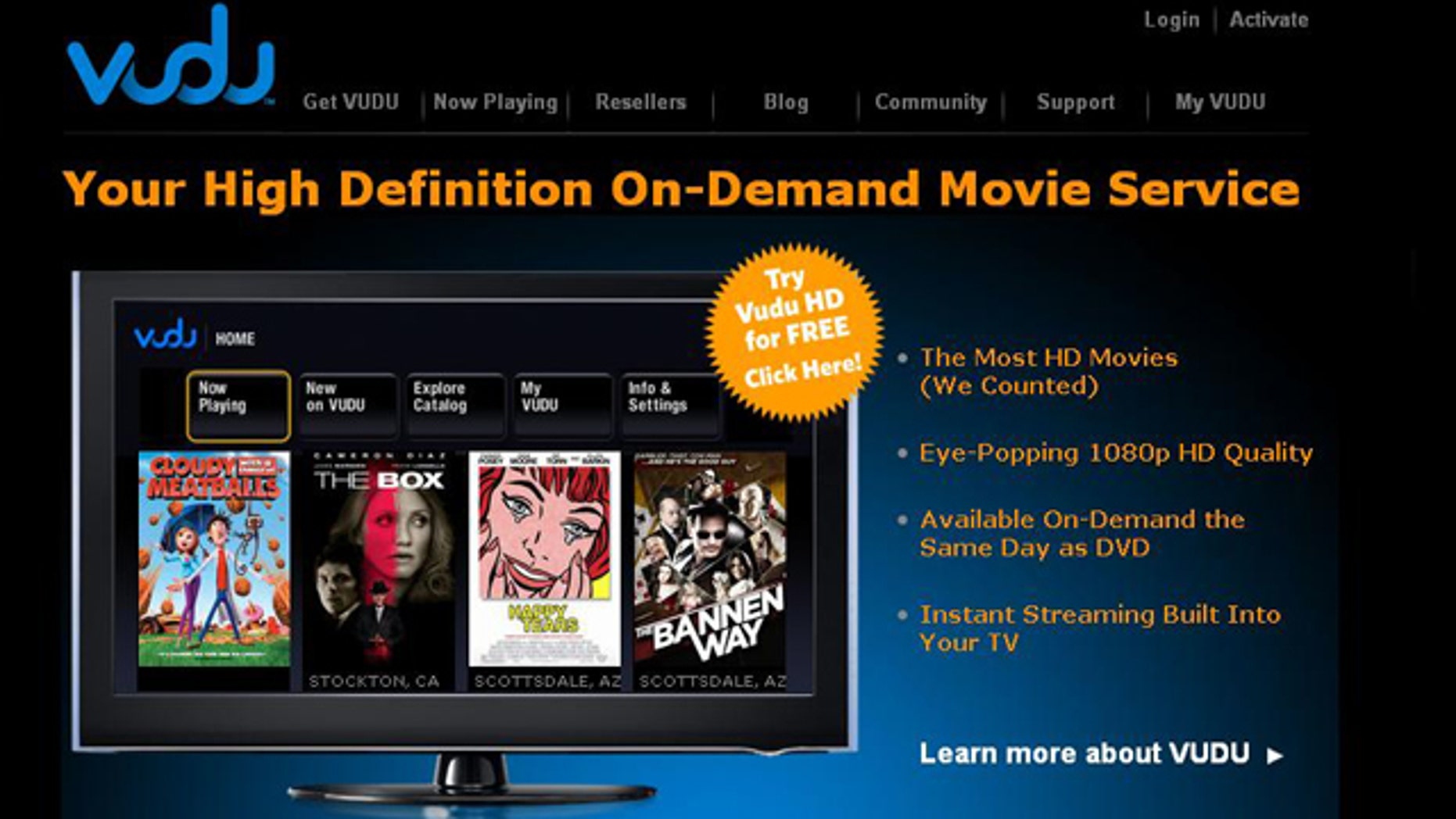 A screenshot of the Vudu Web site. The company's video-on-demand service was purchased by Wal-Mart in 2010 and debuted Tuesday, July 26, 2011.