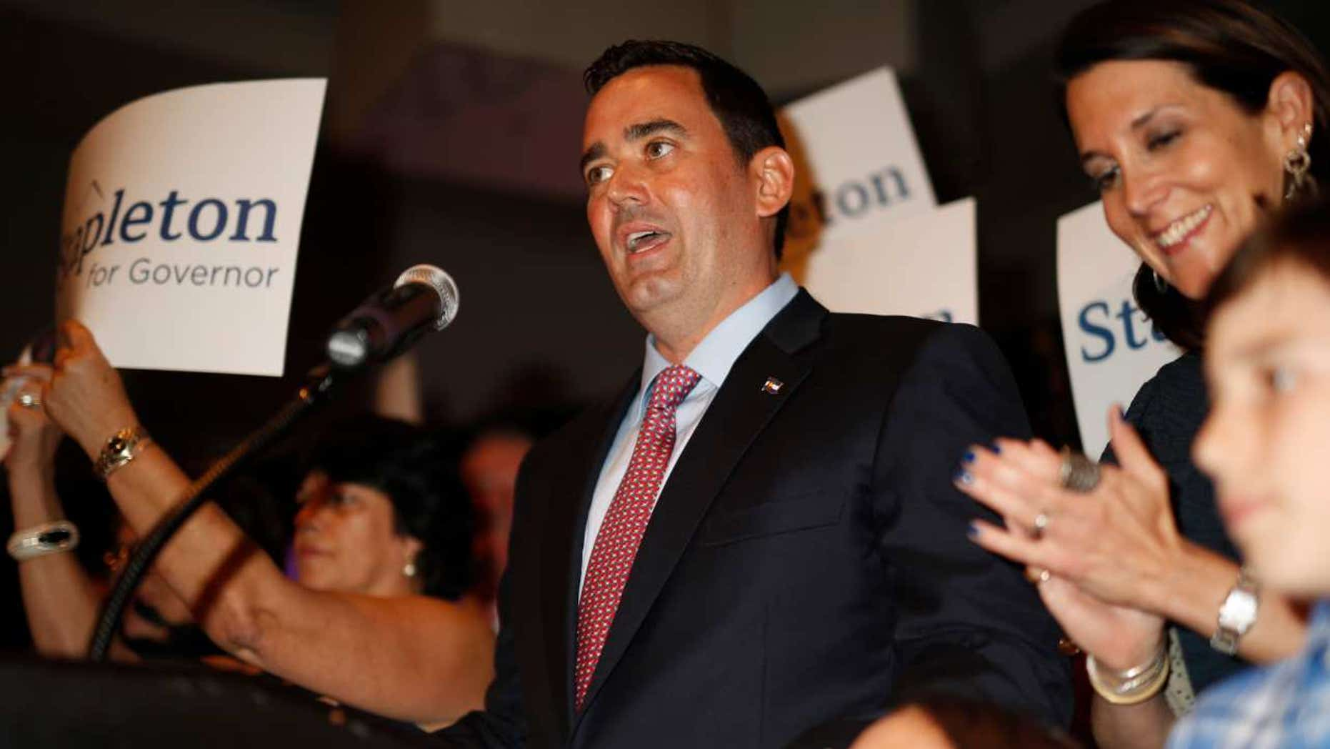 Walker Stapleton speaks after he won the Republican nomination to run for Colorado's governorship during an election night watch party in Greenwood Village, Colo., June 26, 2018.
