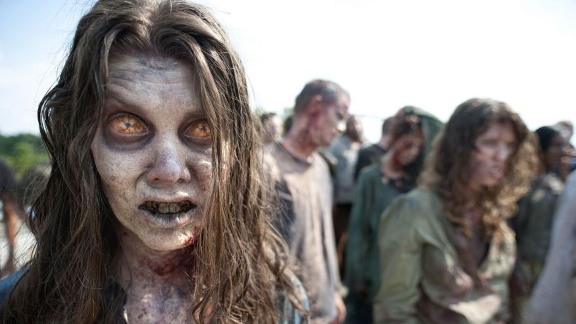 """Zombies appear in a scene from the second season of the AMC original series, """"The Walking Dead"""" in Senoia, Ga."""