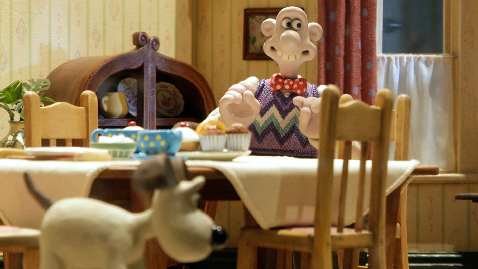 """A display of a scene from a Wallace and Gromit film, at the media launch of the """"Wallace & Gromit Present A World of Cracking Ideas"""" exhibition at the Science Museum in London March 26, 2009."""