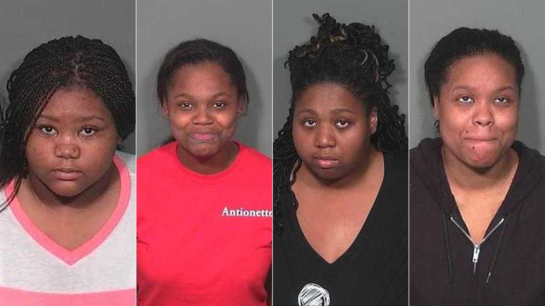 Police arrested, from left to right: Seanice Warren, Alexis Neal, Majara Walker and Morgan Walker, in connection with the Walmart fight.