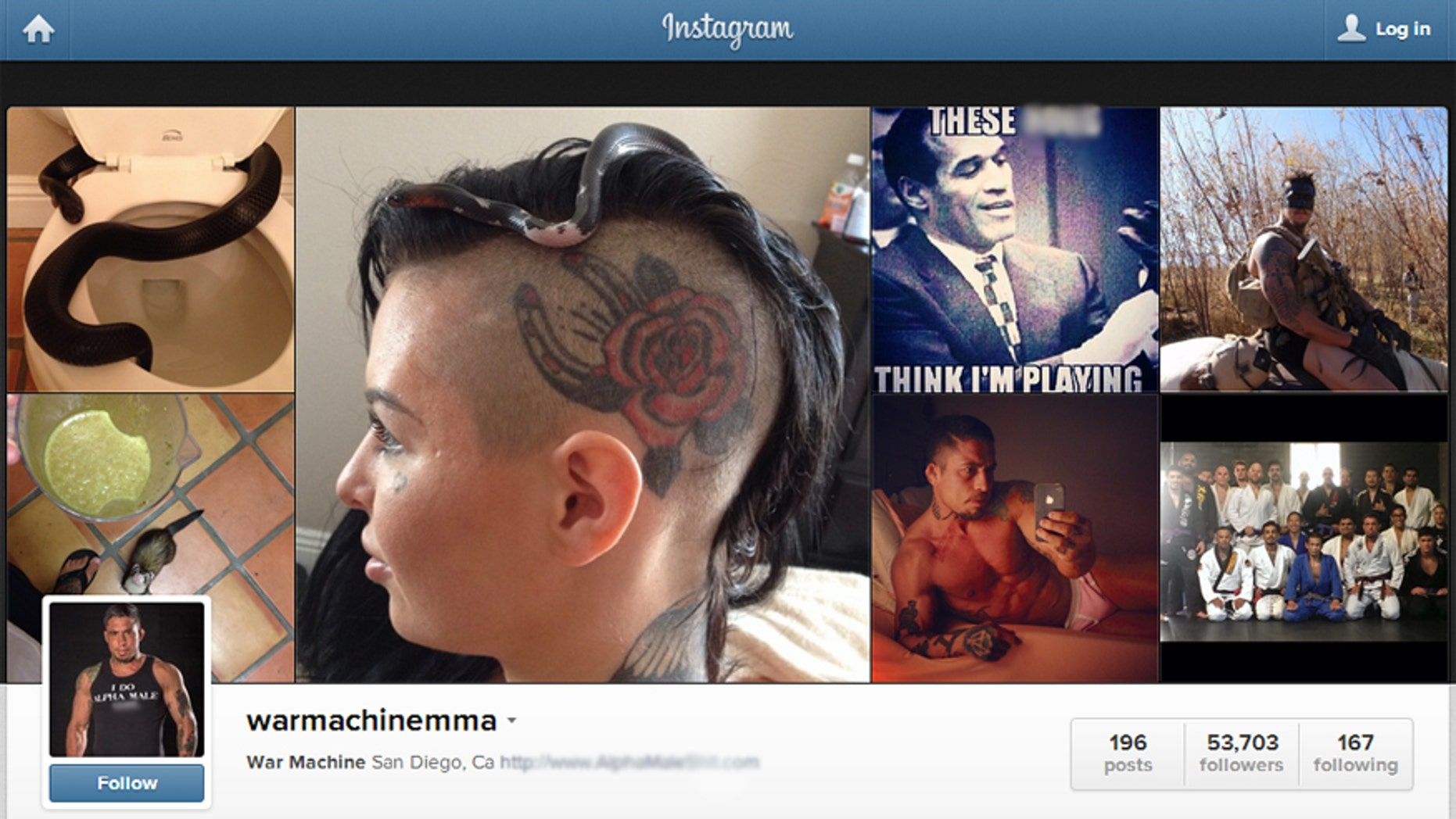 A photo of War Machine's Instagram account.