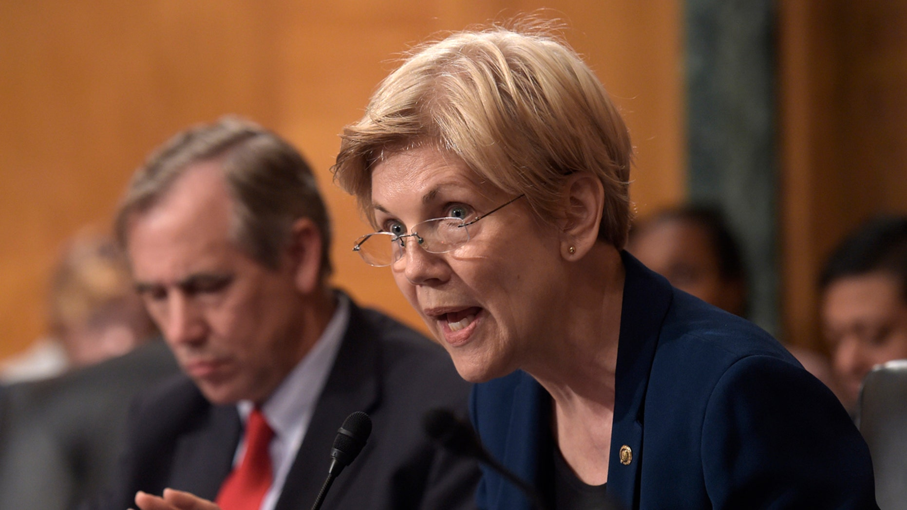 FILE - In this Sept. 20,2016 file photo, Sen. Elizabeth Warren, D-Mass. speaks on Capitol Hill in Washington. Warren accused the Education Department on Thursday, Sept. 29, 2016, of moving forward with debt collection against nearly 80,000 former students of Corinthian Colleges, despite federal and state findings that the now-defunct for-profit chain defrauded students. (AP Photo/Susan Walsh, File)