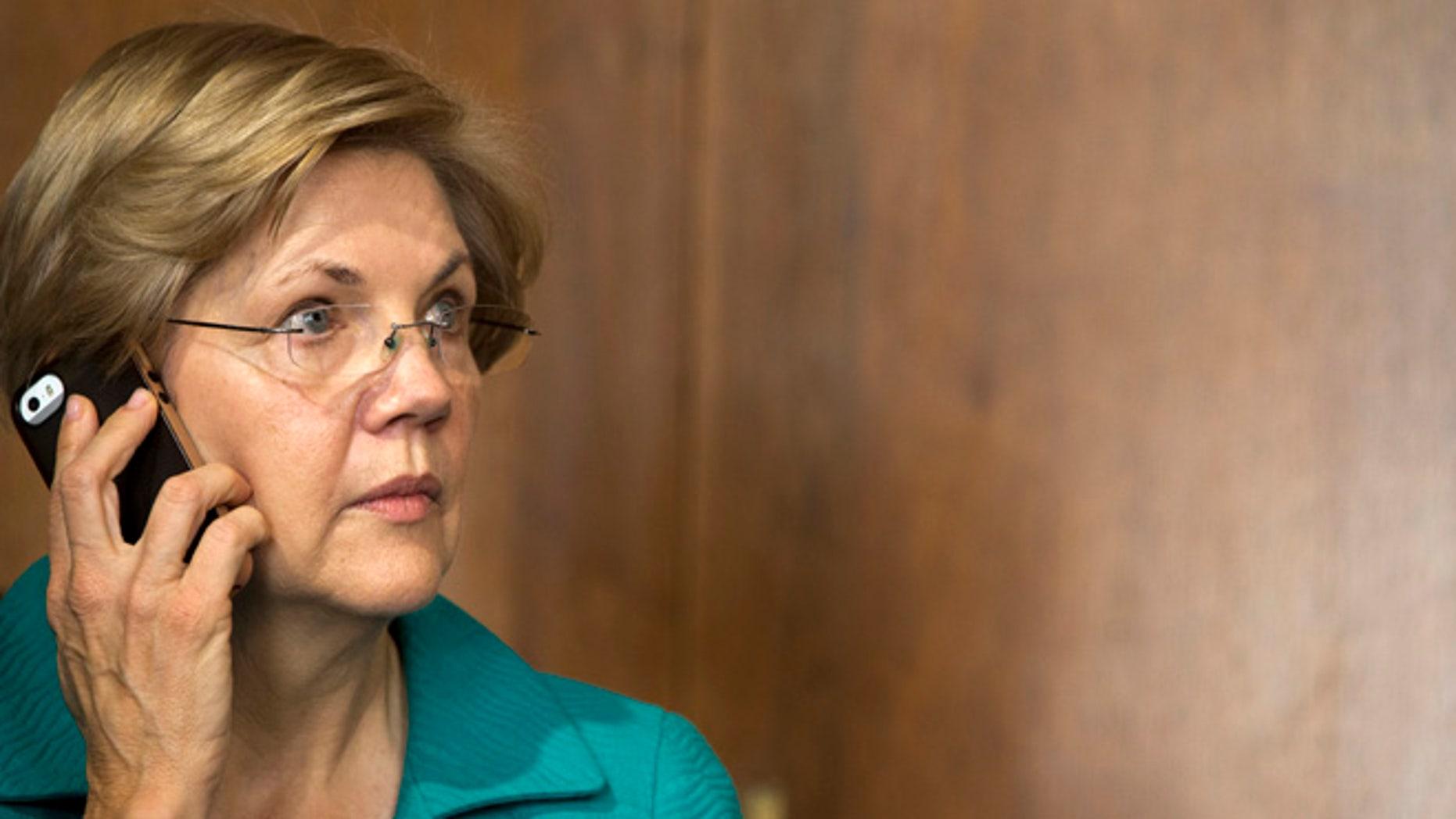 Oct. 6, 2015: Senate Energy and Natural Resources Committee member Sen. Elizabeth Warren, D-Mass., is seen on Capitol Hill in Washington.