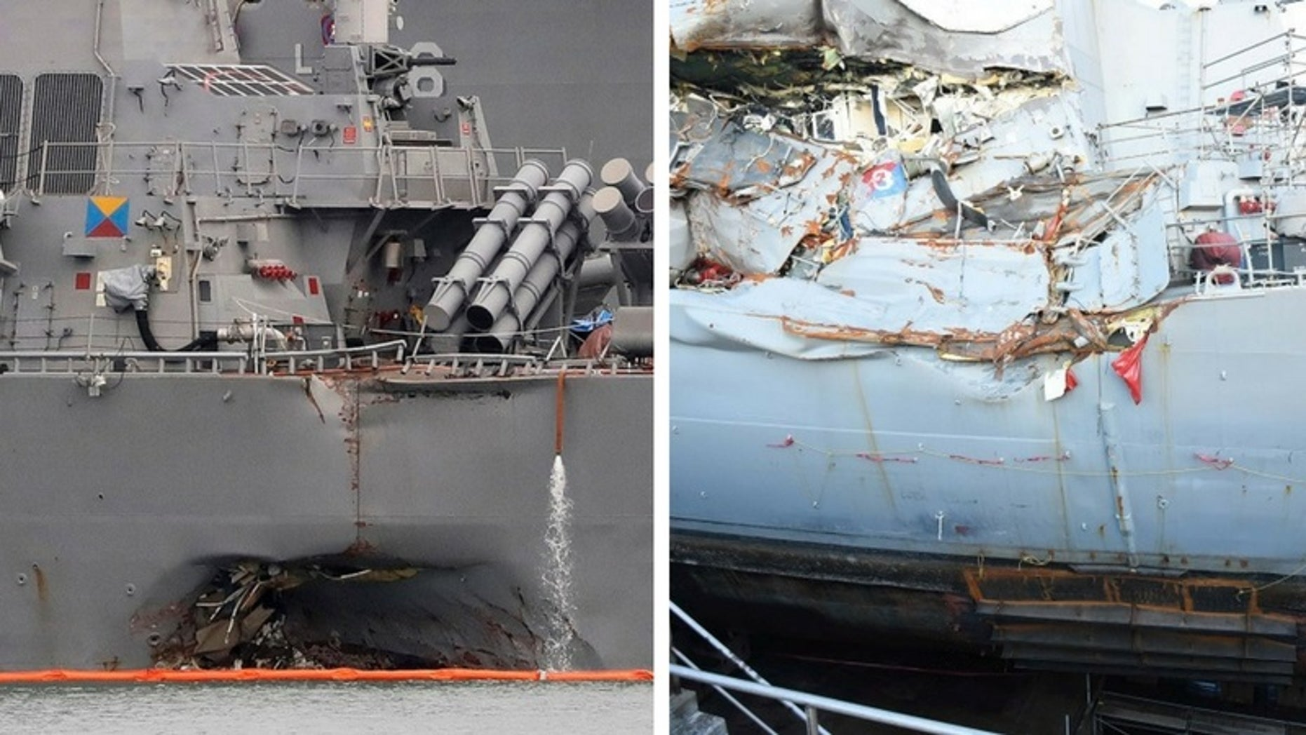 The U.S. Navy said in a report the collisions of the USS John S. McCain, left, and the USS Fitzgerald could have been avoided.