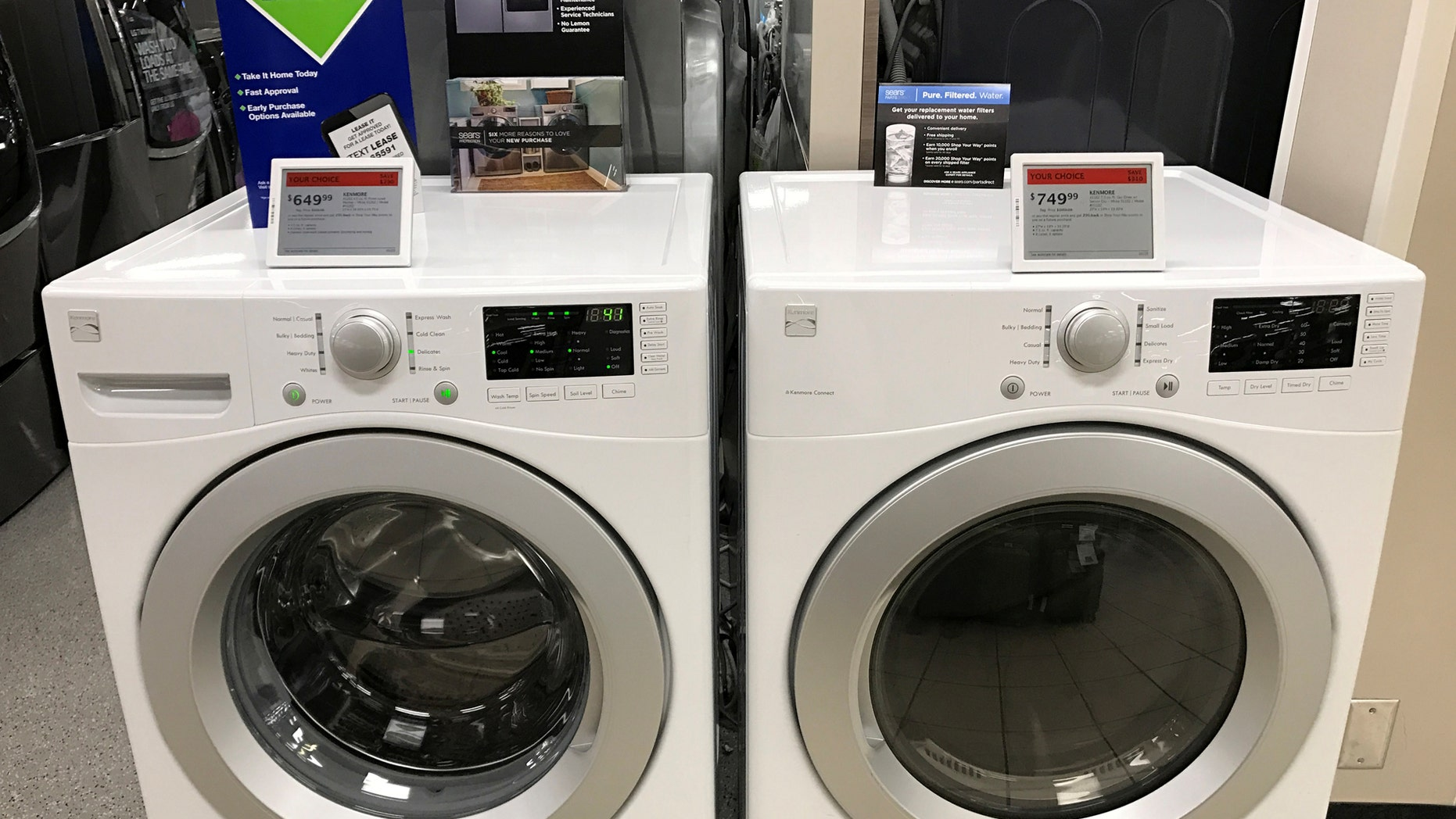 File photo: Sears Kenmore washing machines are shown for sale inside a Sears department store in La Jolla, California, U.S., March 22, 2017. (REUTERS/Mike Blake)