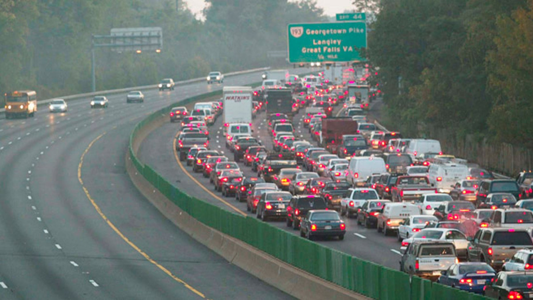 Traffic is backed up on the Washington Beltway entering Montgomery County, Maryland from Virginia, October 22, 2002.