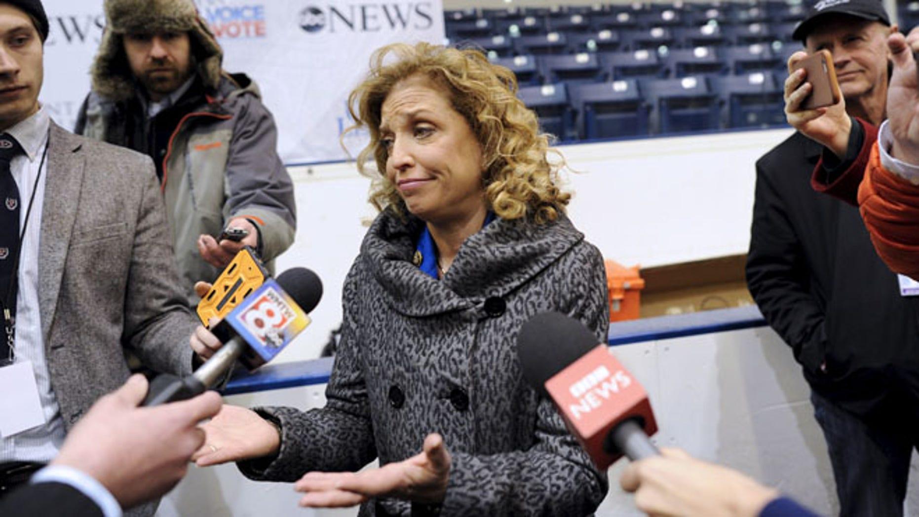 FILE:  Dec. 19, 2015: Democratic National Committee chair Debbie Wasserman Schultz at debate at Saint Anselm College in Manchester, N.H. (REUTERS)