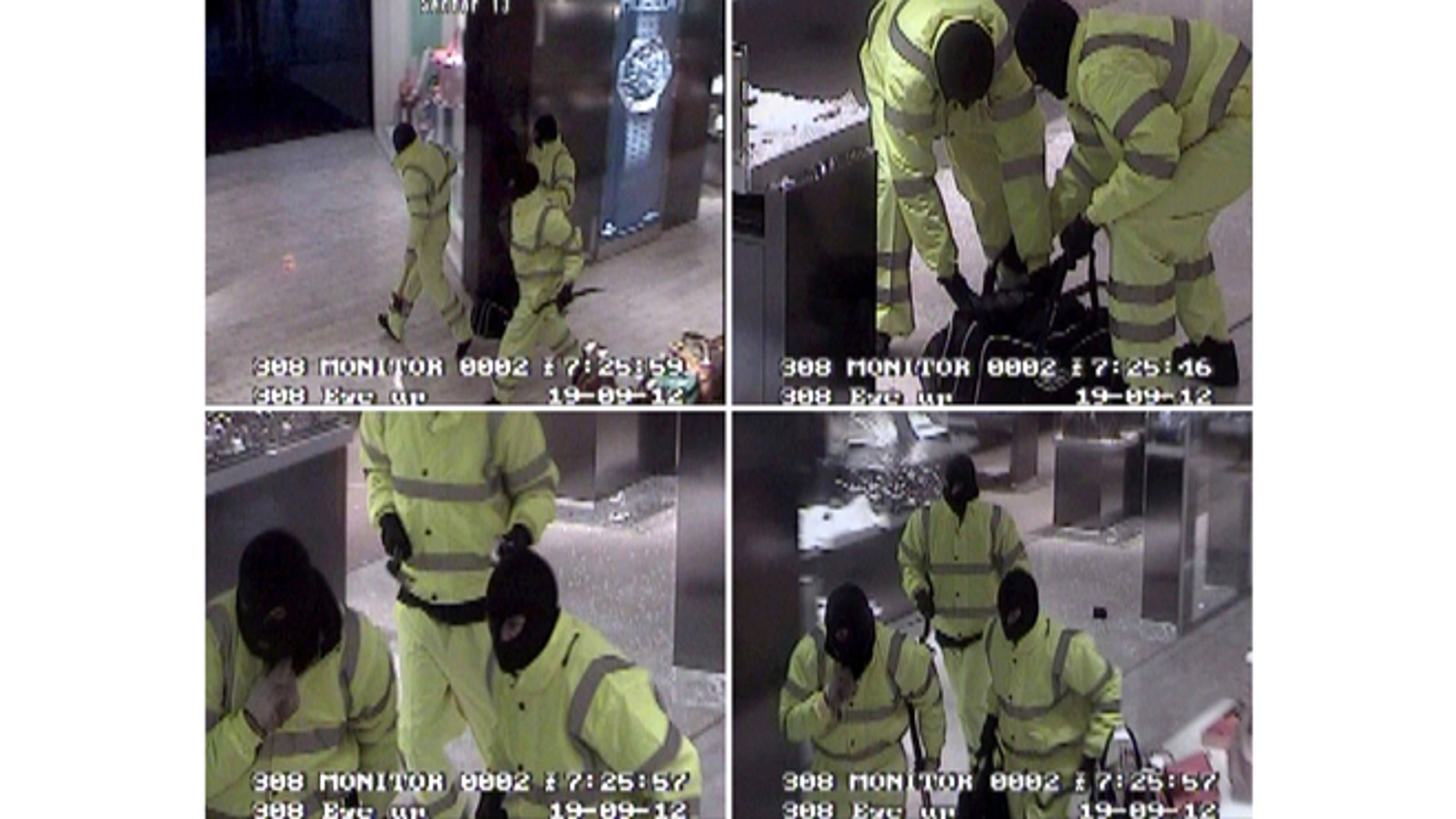 Sept. 19, 2012: Greater Manchester Police handout CCTV stills showing masked raiders stealing a 500,000 pounds ($810,000) haul of luxury watches from high end department store Selfridges in Manchester, northern England.