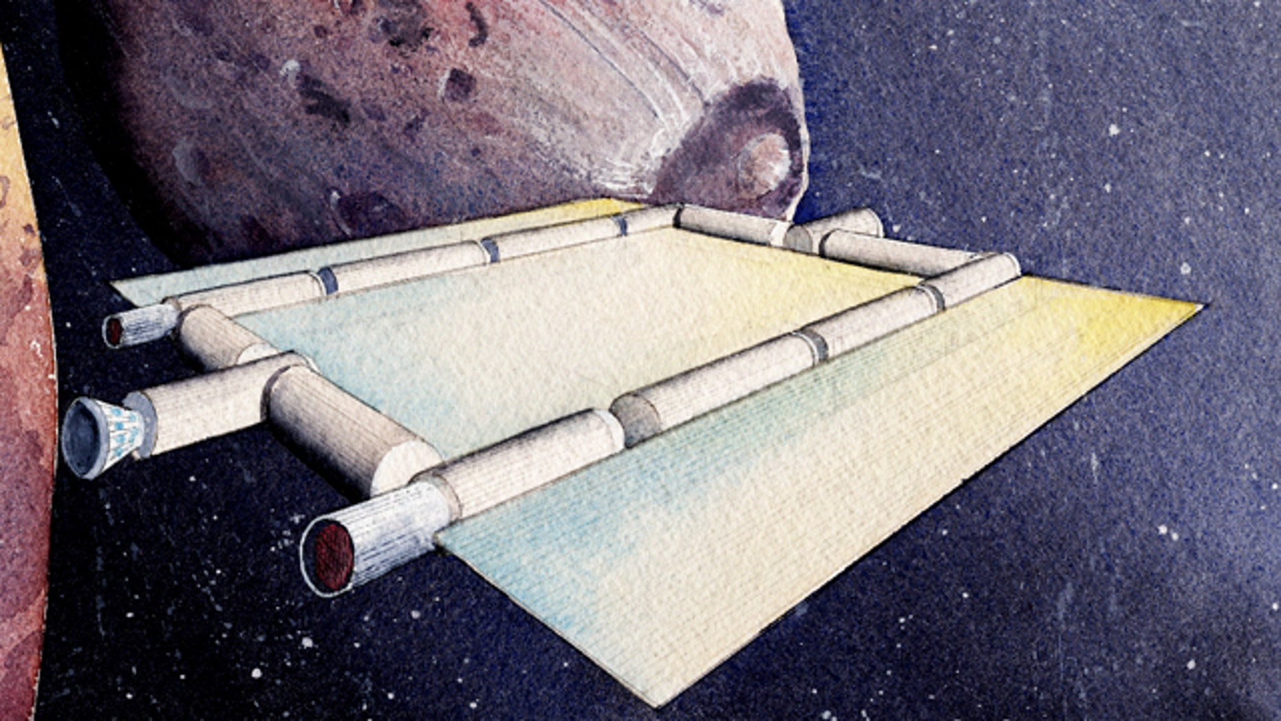Artist's rendering of a space coach -- a water-powered concept vehicle -- cruising near the Martian moon Phobos. The cylinders are interconnected habitat modules, while the flatter regions are solar arrays.