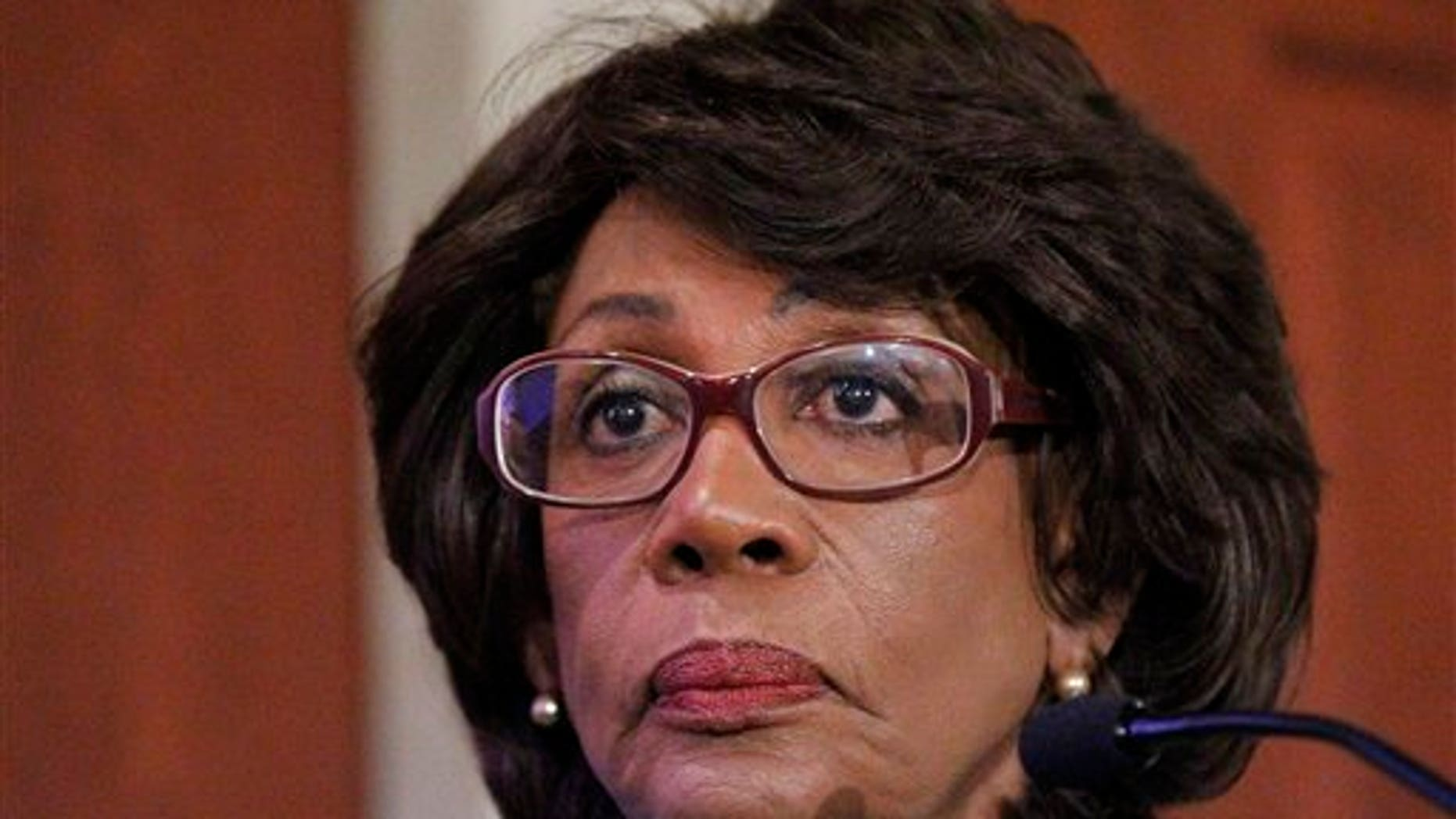 Rep. Maxine Waters, D-Calif., during her news conference on Capitol Hill in Washington, Friday, Aug. 13, 2010, to discuss the House ethics committee investigation. (AP Photo/Pablo Martinez Monsivais)