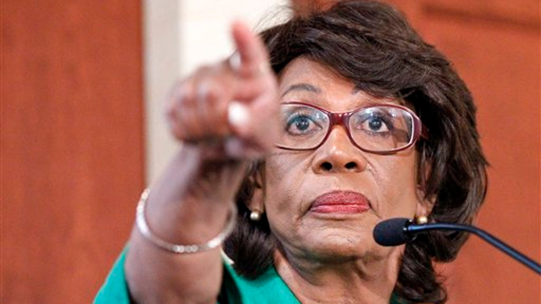 Rep. Maxine Waters, D-Calif. holds a press conference to defend herself on ethics charges, Friday, August 13, 2010. (AP Photo/Pablo Martinez Monsivais)