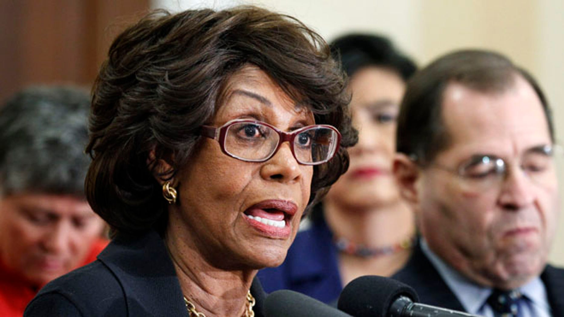 Feb. 8, 2011: Rep. Maxine Waters, D-Calif., speaks during a news conference on Capitol Hill.
