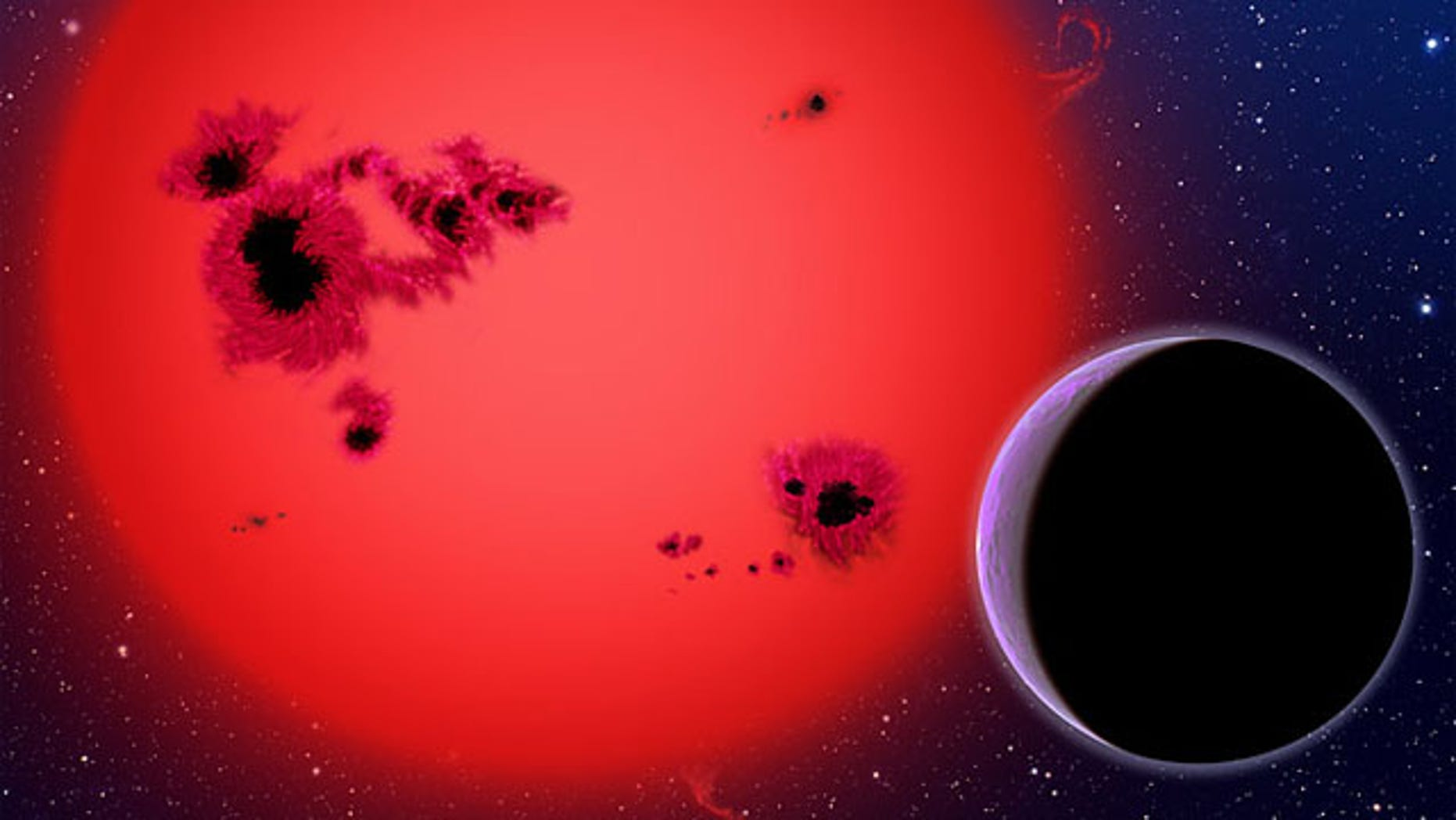 """Essentially one big ocean, GJ 1214b orbits a red dwarf star in this artist's conception. Researchers now believe the """"water world"""" represents an new type of planet."""