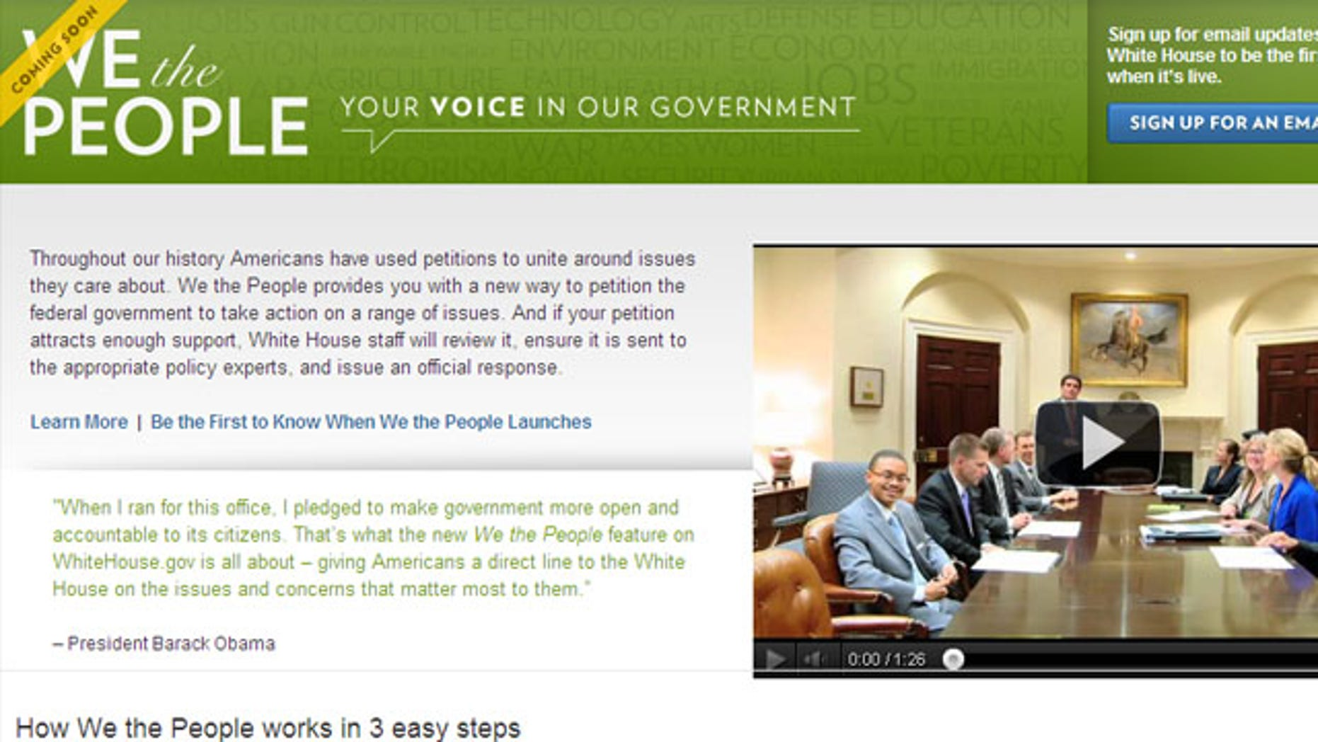 Shown here is the new White House site dedicated to public petitions.