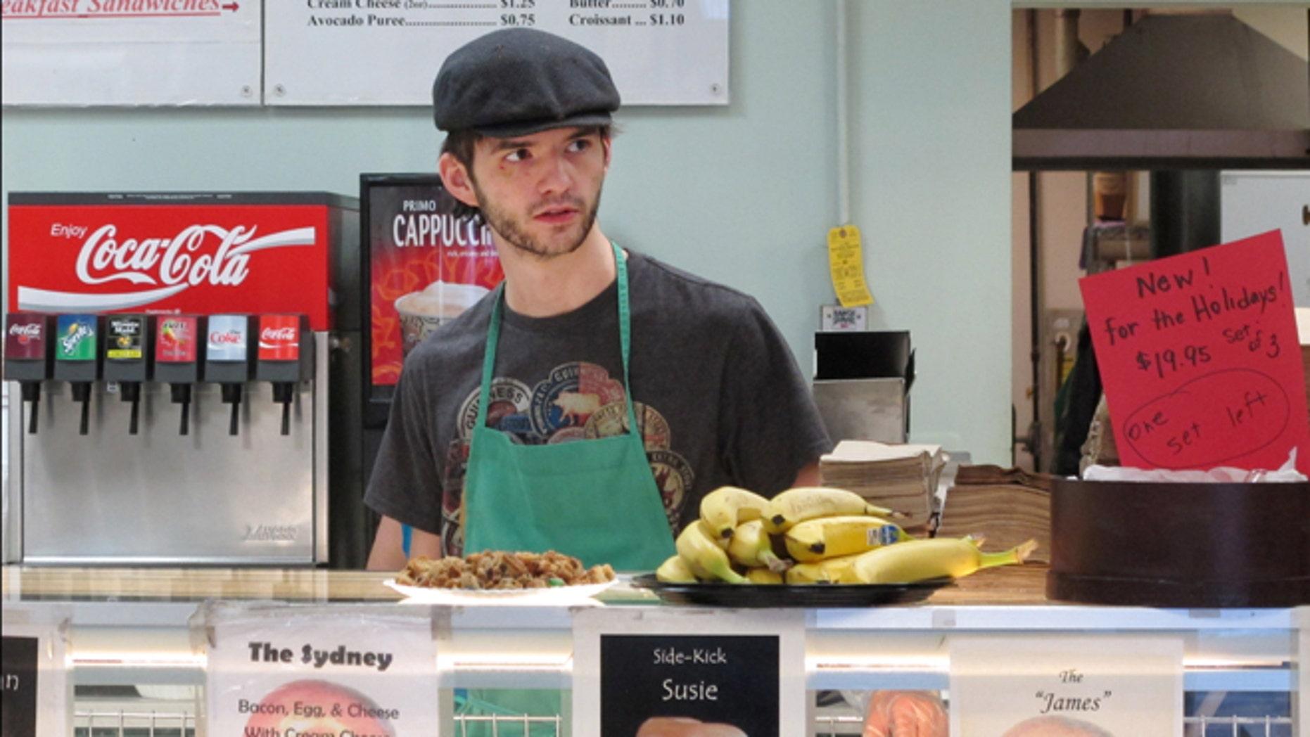 Jan. 27, 2014: Neal Breen, 21, works at the Ashburn Bagel & Sandwich Shop in Ashburn, Va.