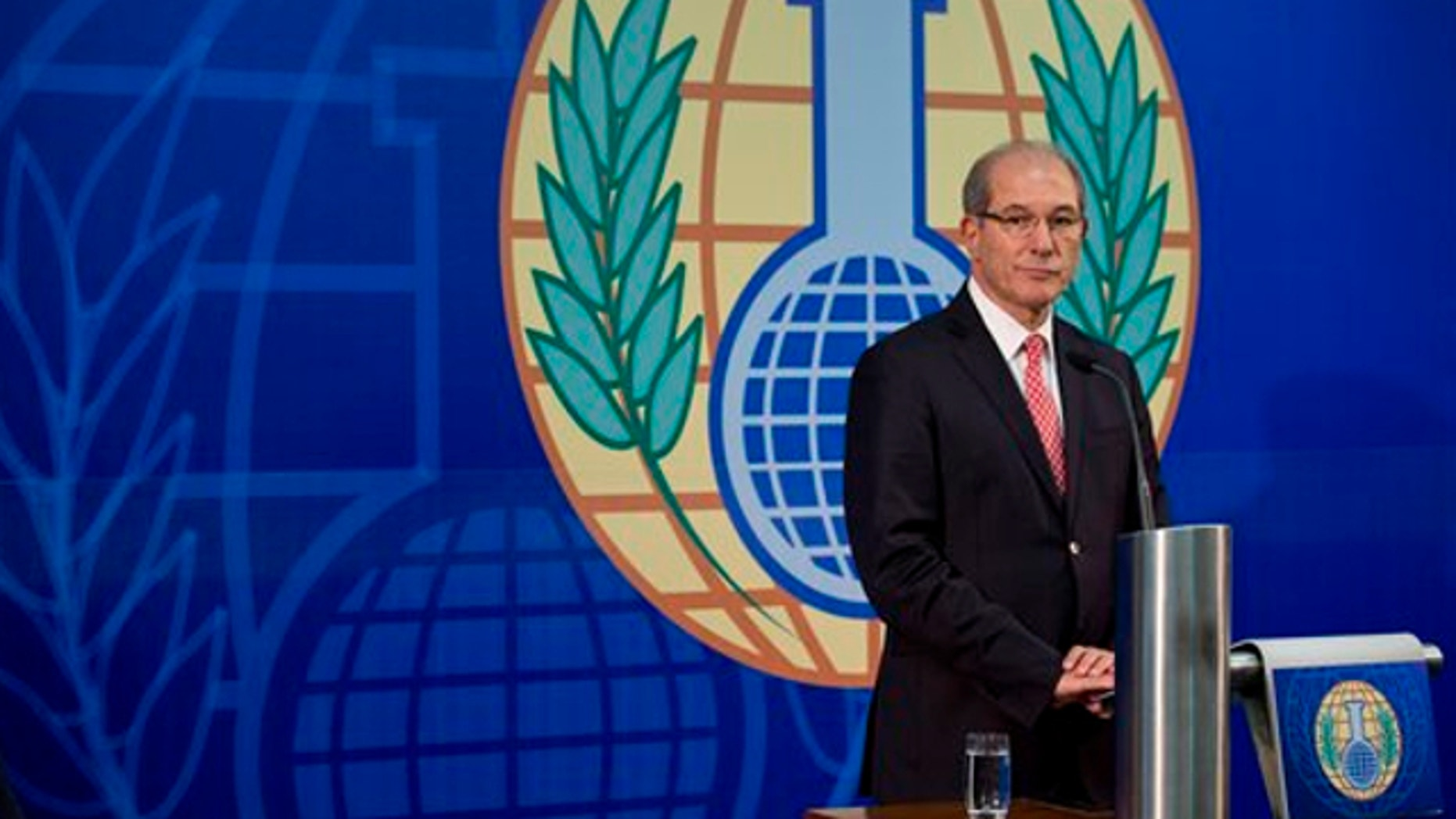 Oct. 9, 2013: Director General Ahmet Uzumcu of the Organisation for the Prohibition of Chemical Weapons, OPCW, gives an update on the the chemical watchdog's verification and destruction mission in Syria during a press conference in The Hague, Netherlands.