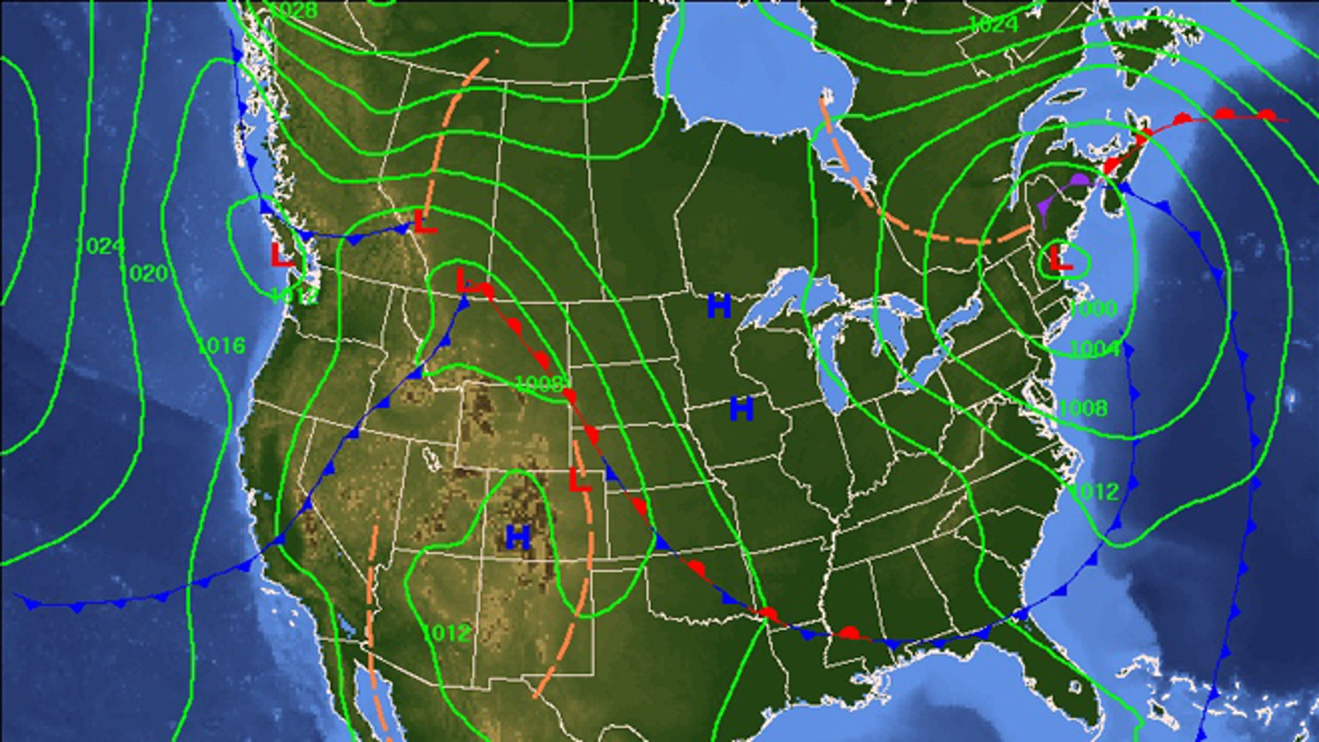 Nov. 1, 2012: A NOAA map shows 7-day sea level pressures and weather fronts. The National Weather Service's said Thursday that a nor'easter was possible for mid-Atlantic and New England states by Election Day through next Thursday.