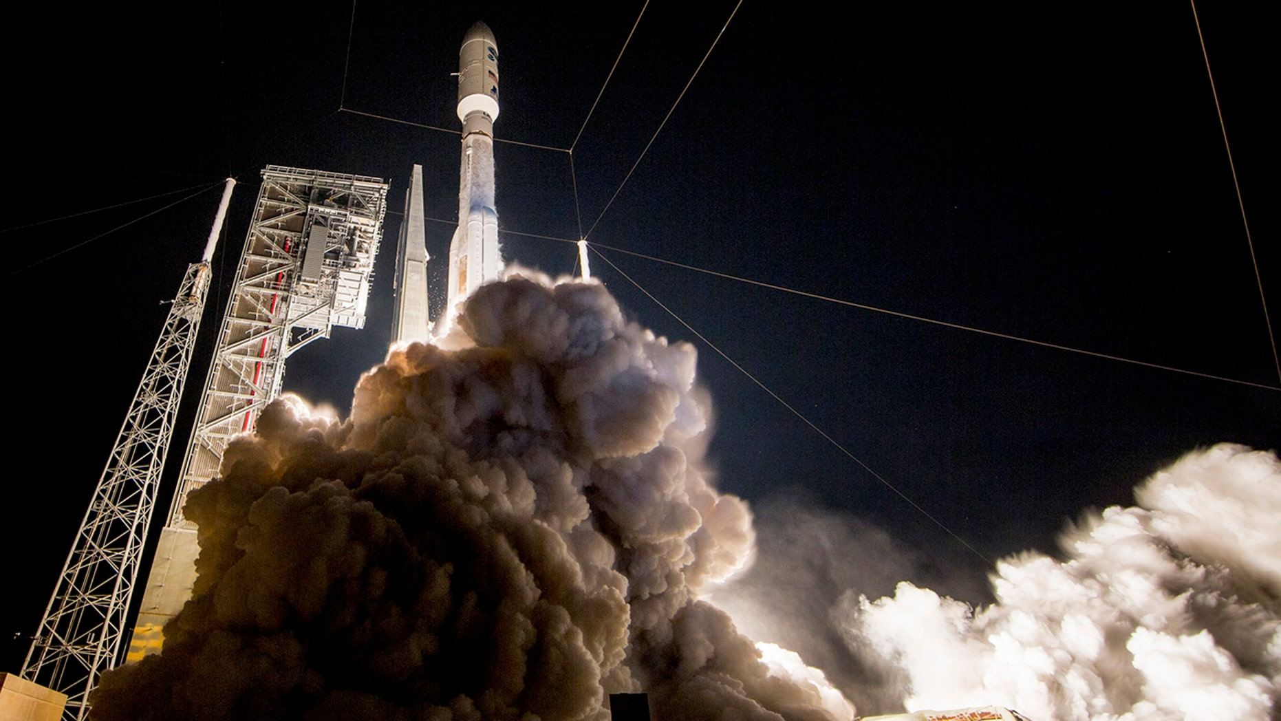 This photo provided by United Launch Alliance shows a United Launch Alliance (ULA) Atlas V rocket carrying GOES-R spacecraft for NASA and NOAA lifting off from Space Launch Complex-41 at 6:42 p.m.