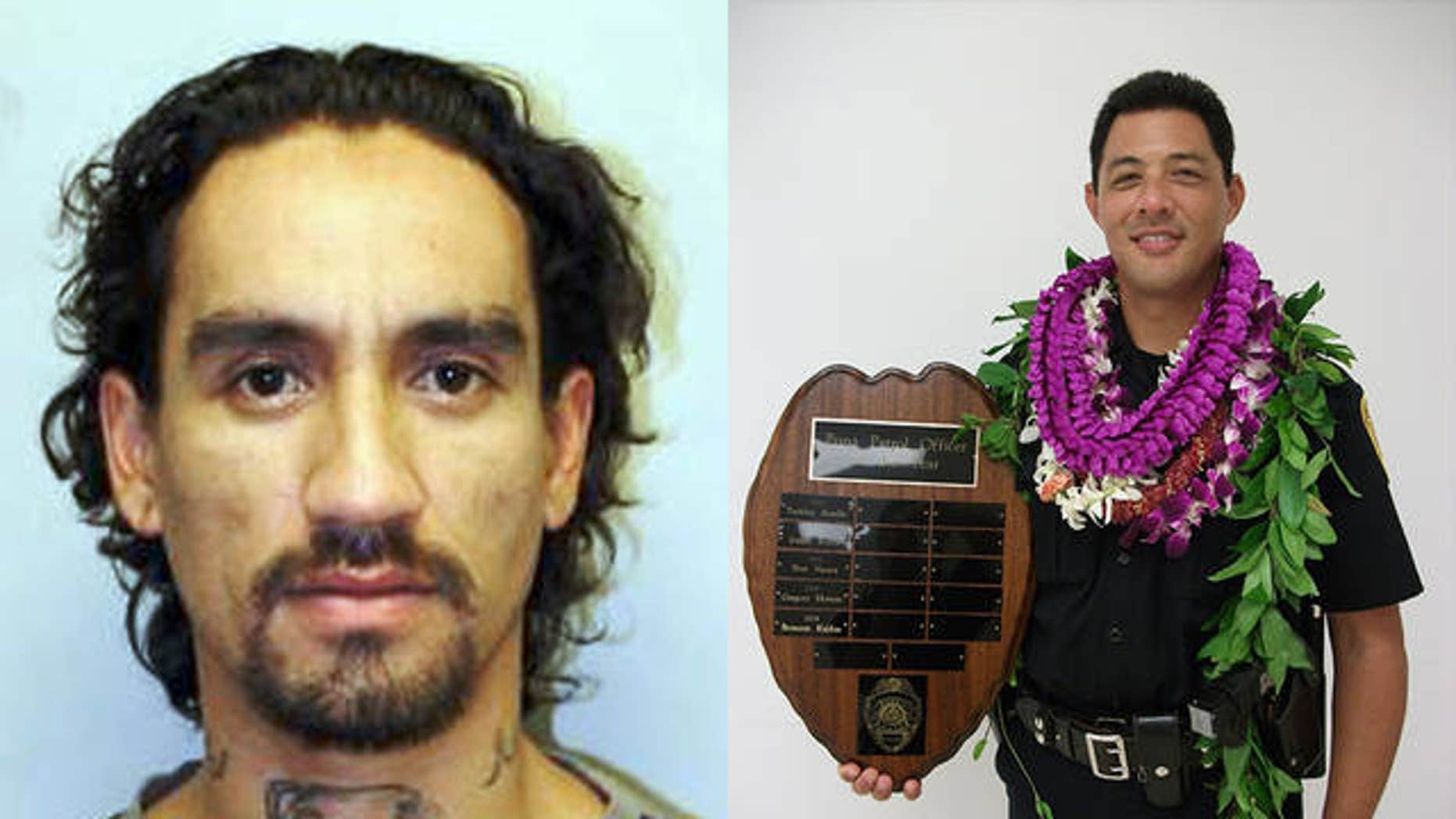 Hawaii's entire Big Island police force led a three-day search for Justin Waiki, left, who was suspected of killing of Hawaii County police Officer Bronson Kaliloa during a traffic stop on Tuesday.