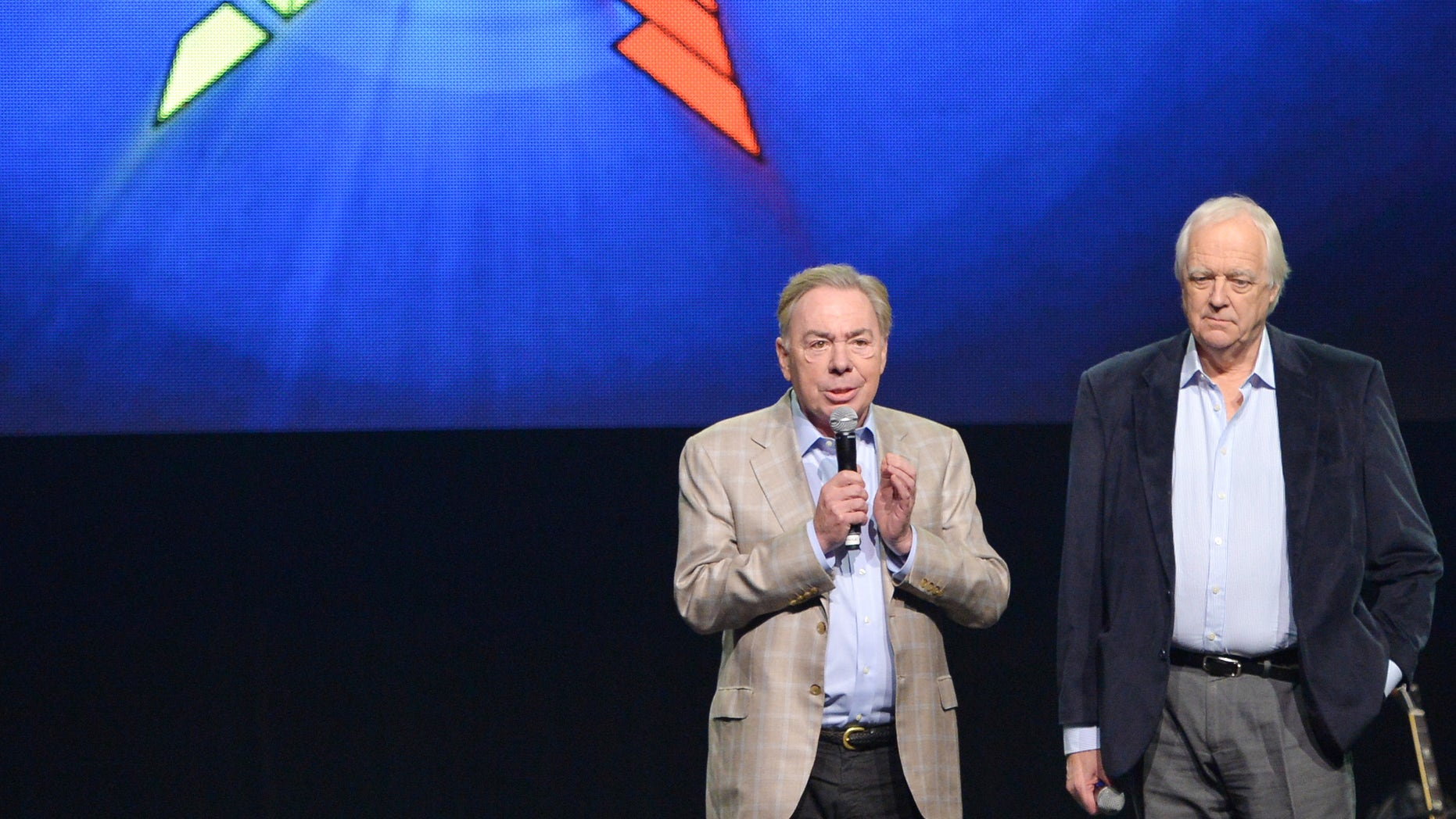 """April 4, 2014. Composer Andrew Lloyd Webber, left, and lyricist Tim Rice announce the new """"Jesus Christ Superstar"""" North American arena tour at a press conference and performance in New York."""