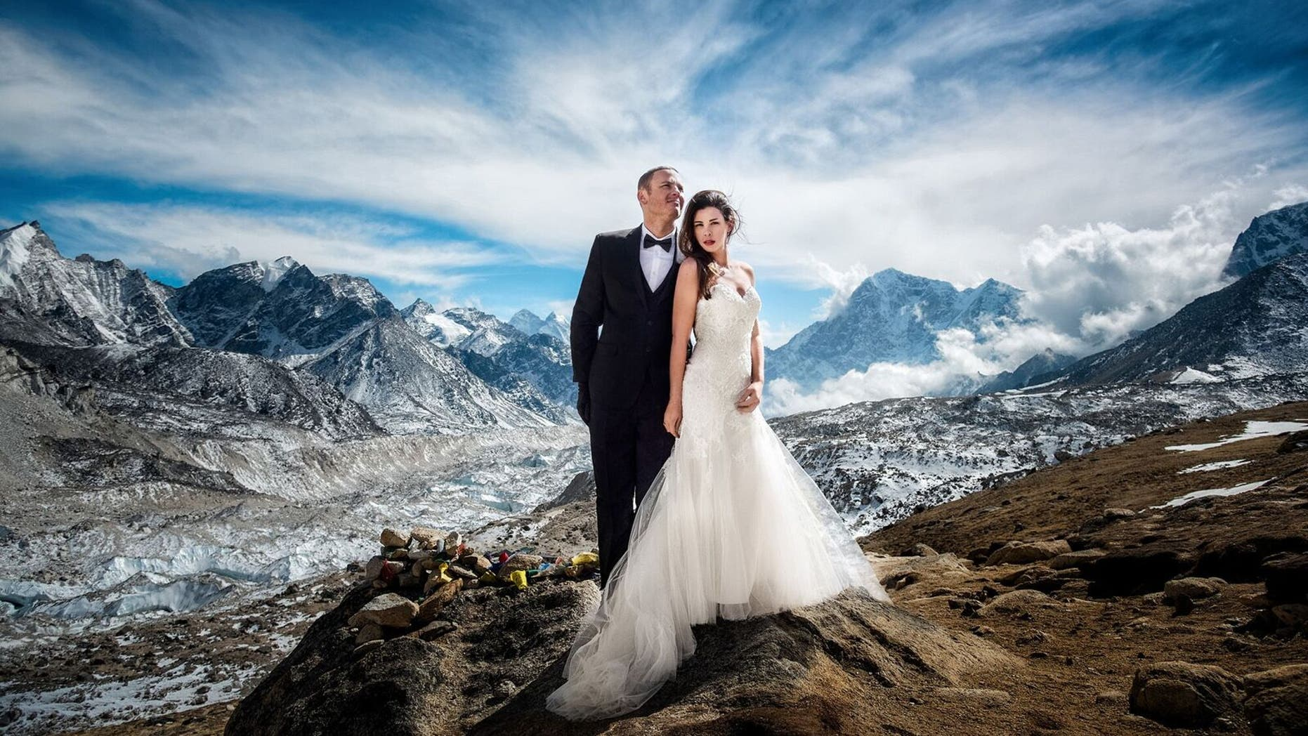 James Sissom and Ashley Schmeider trekked up Mount Everest for their dream wedding on March 16, 2017.