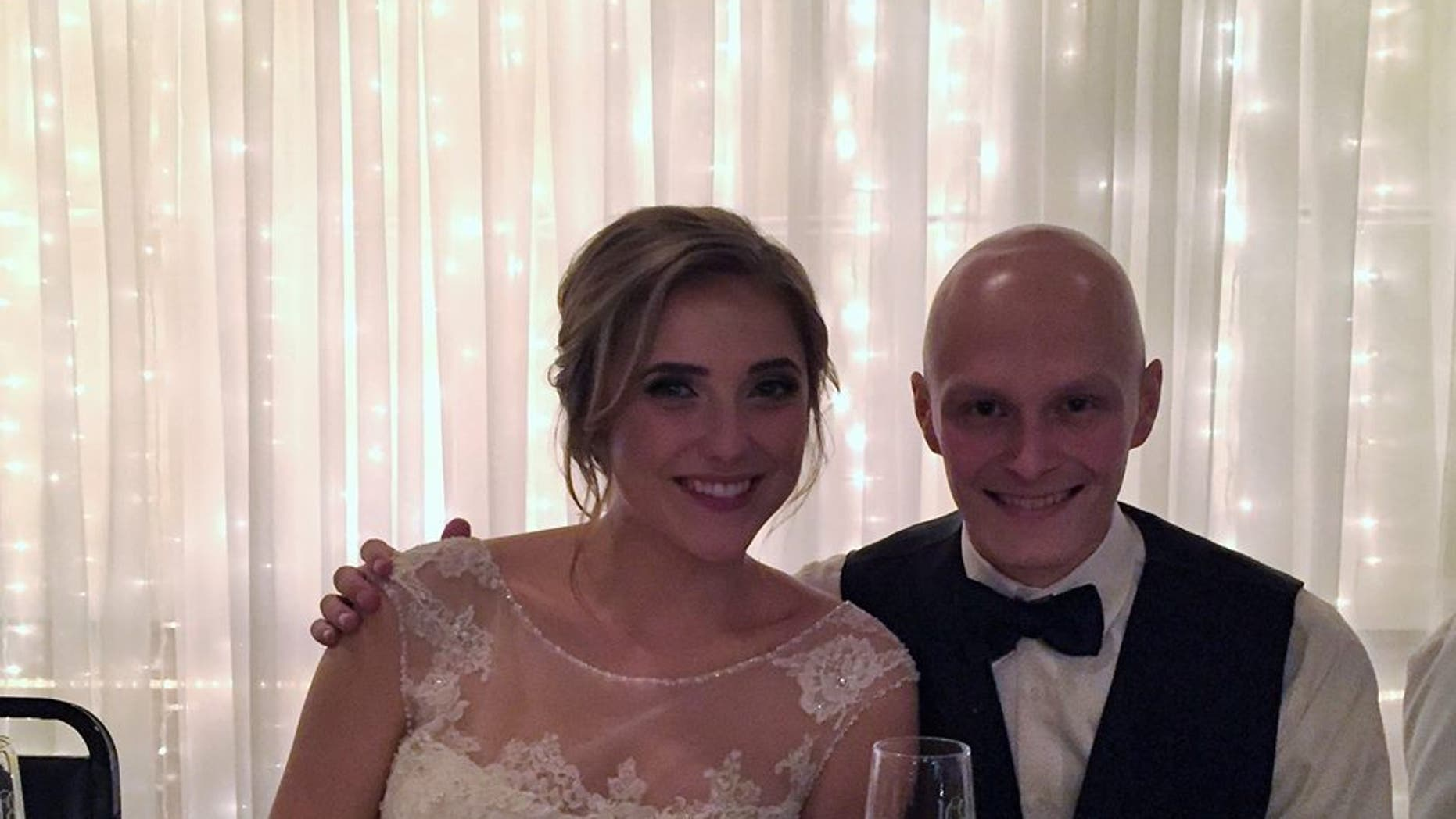 Luke Blanock and Natalie Britvich tied the knot a month after he found out his cancer was terminal.
