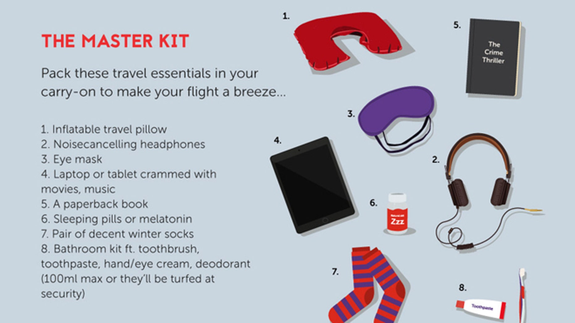 Pack these essential items for a restful long-haul flight.