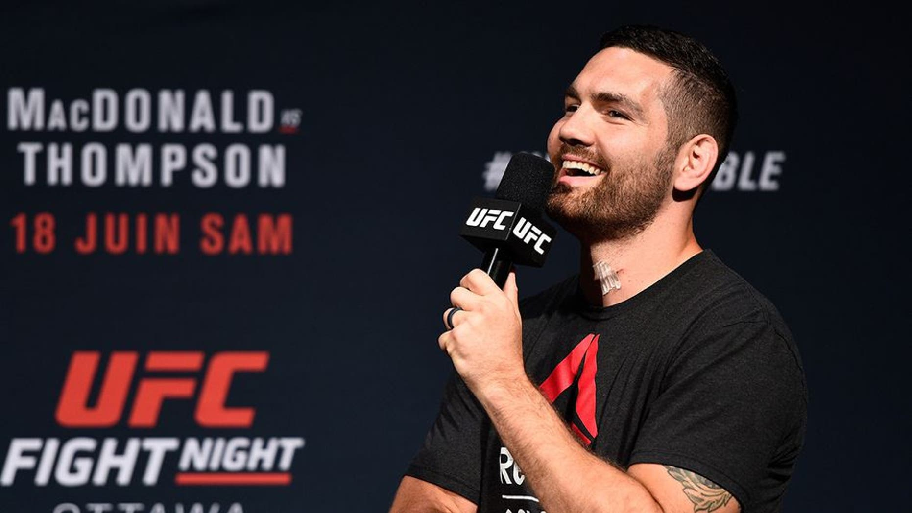 OTTAWA, ON - JUNE 17: Chris Weidman answers questions from fans during a Q&A before the UFC Fight Night Weigh-in inside the Arena at TD Place on June 17, 2016 in Ottawa, Ontario, Canada. (Photo by Jeff Bottari/Zuffa LLC/Zuffa LLC via Getty Images)