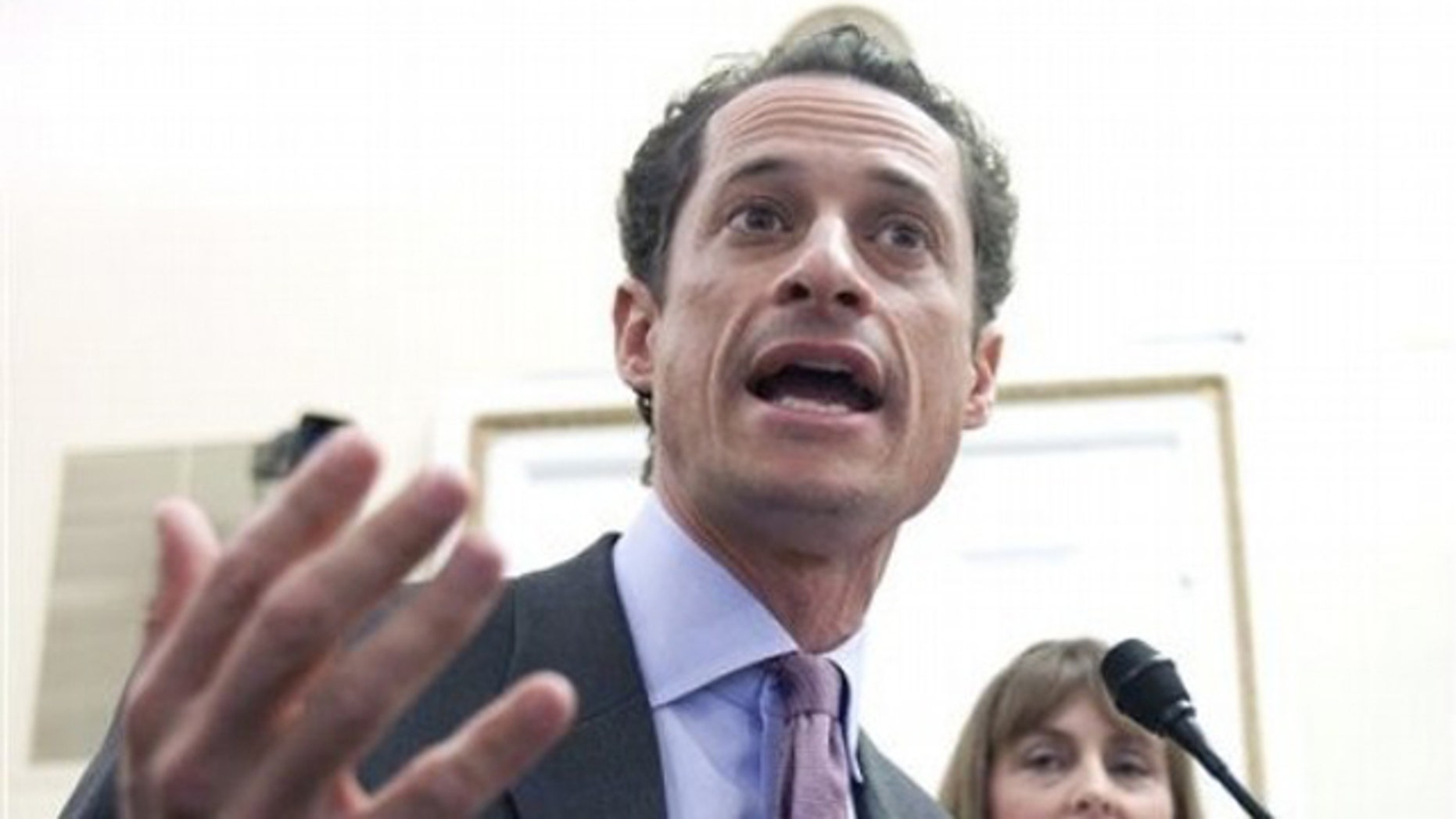 Rep. Anthony Weiner testifies on Capitol Hill in Washington Jan. 6 before the House Rules Committee.