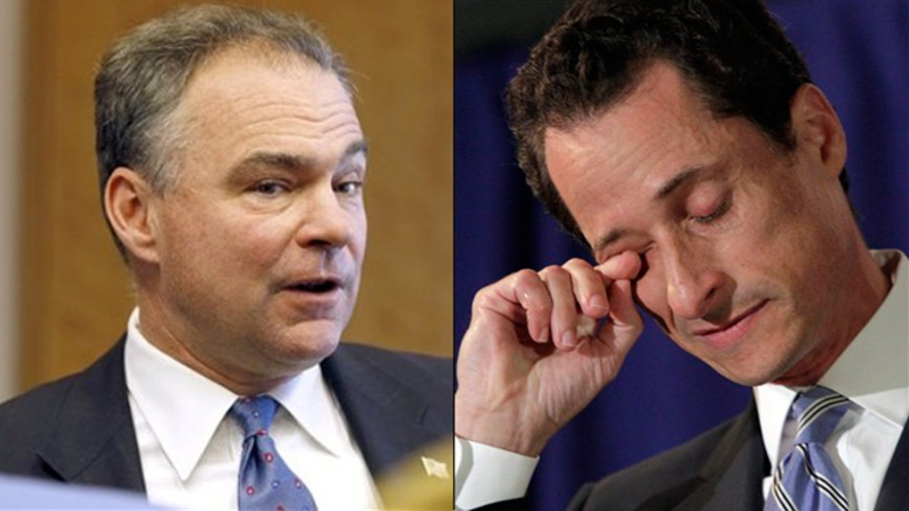Shown here are former Democratic Party chief Tim Kaine, left, and Rep. Anthony Weiner.