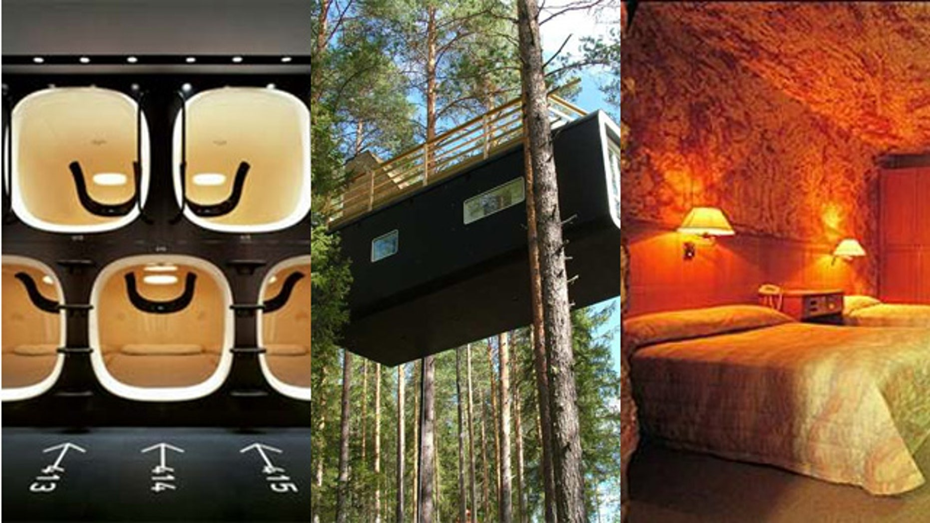 You can stay at these weird hotels like 9 Hours in Japan, Treehotel in Sweden or the Desert Cave Hotel in Australia.