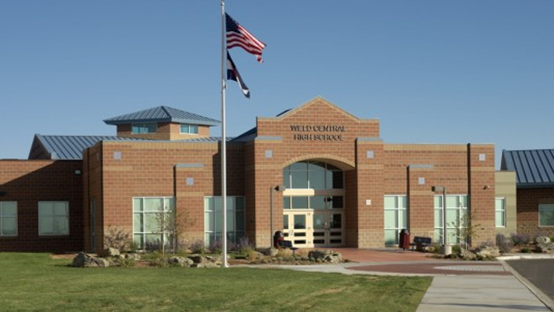 The main entrance to Weld Central High School, which has a Rebel mascot, in Keenesburg, Colorado.