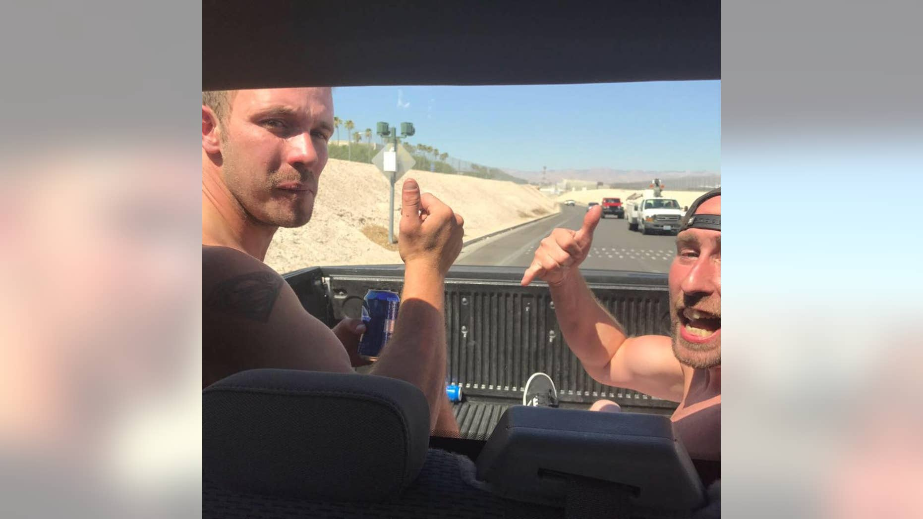 """Welsh """"adrenaline junkie"""" Arron Hughes, left, became the first person to swim across the Hoover Dam — a stunt that has claimed 275 lives in the last decade."""