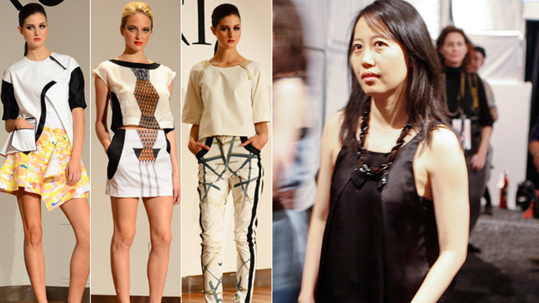 Designer Wenlan Chia, right, is pictured next to designs by her fashion students.