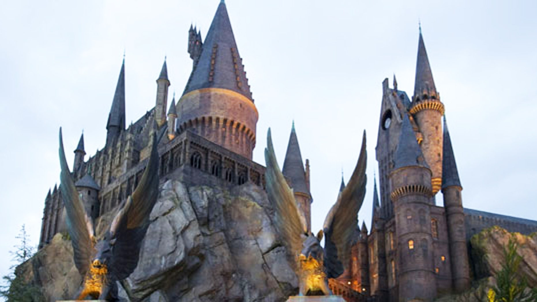 Hogwarts Castle beckons guests at the entrance to Harry Potter and the Forbidden Journey attraction.