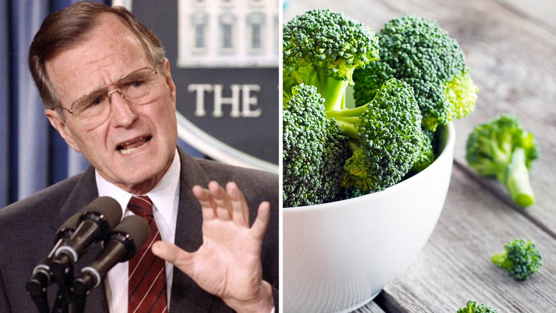 President George H.W. Bush won't be swayed to eat broccoli.
